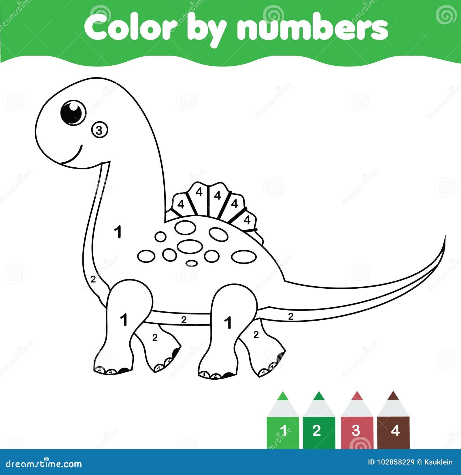 Juego Educativo De Los Niños Página Que Colorea Con El Dinosaurio ...