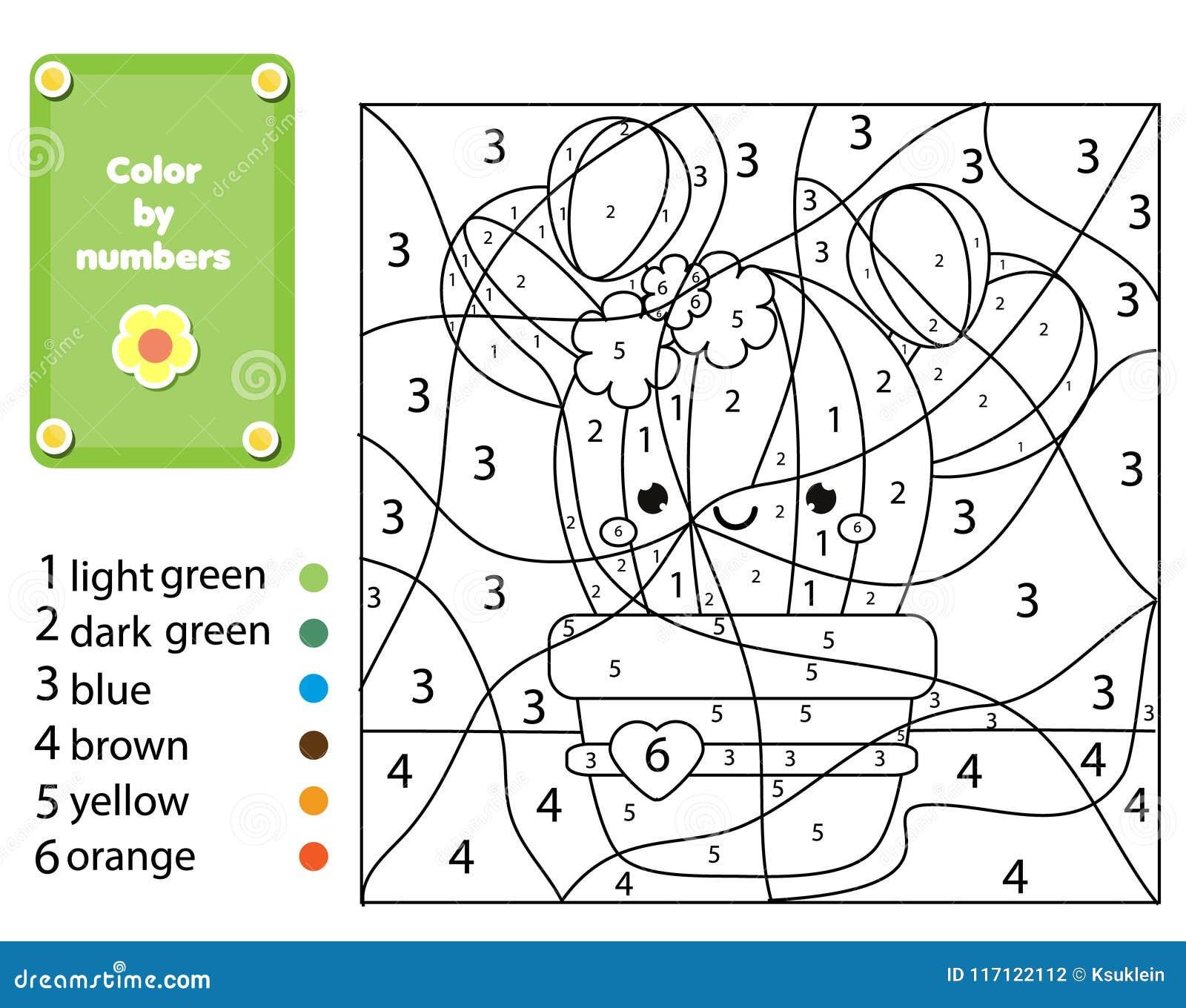 Juego Educativo De Los Niños Página Que Colorea Con La Planta Del ...