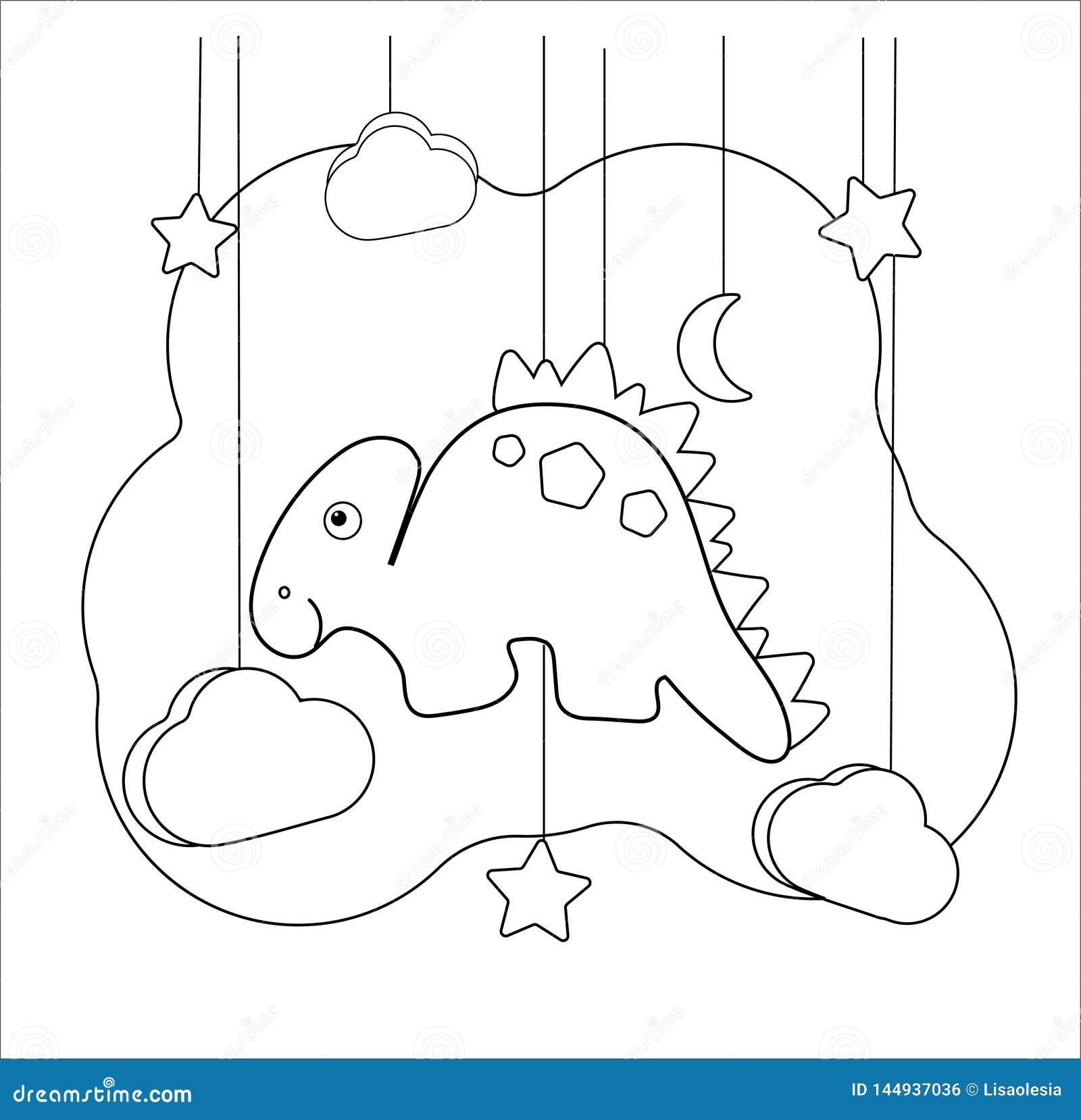 Juego educativo divertido de Dino con el stegosaurus Página que colorea para los niños de la edad preescolar dinosaurio de la h