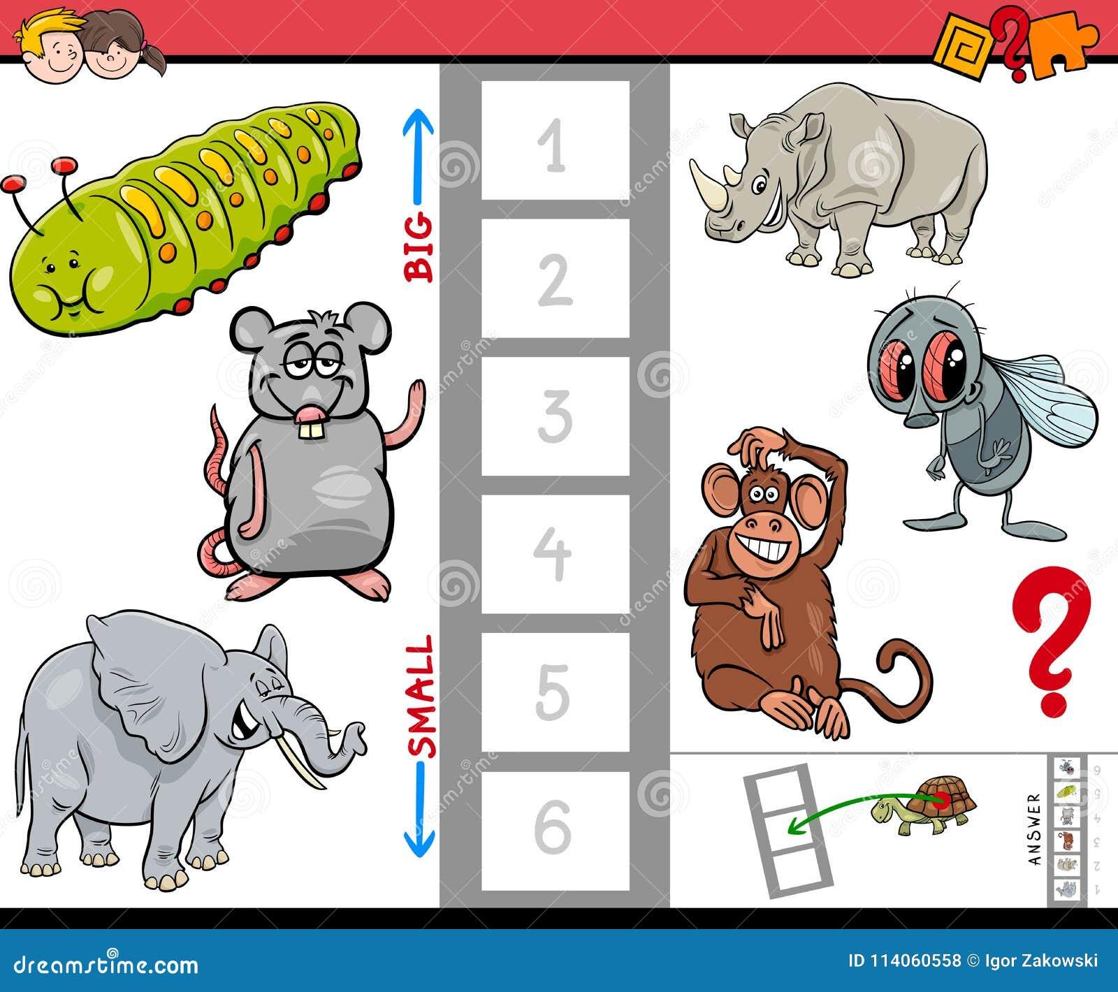 Juego Educativo Para Los Niños Con Los Animales Grandes Y Pequeños ...