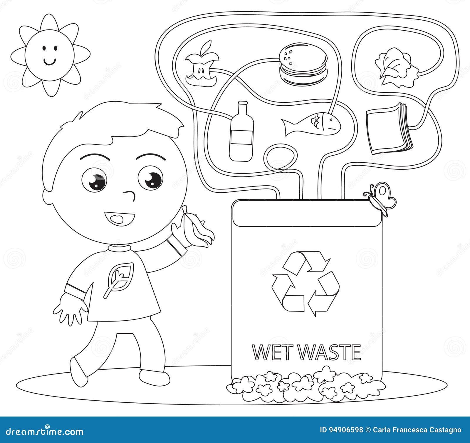 Juego Mojado Del Colorante Del Reciclaje De Residuos Ilustración del ...