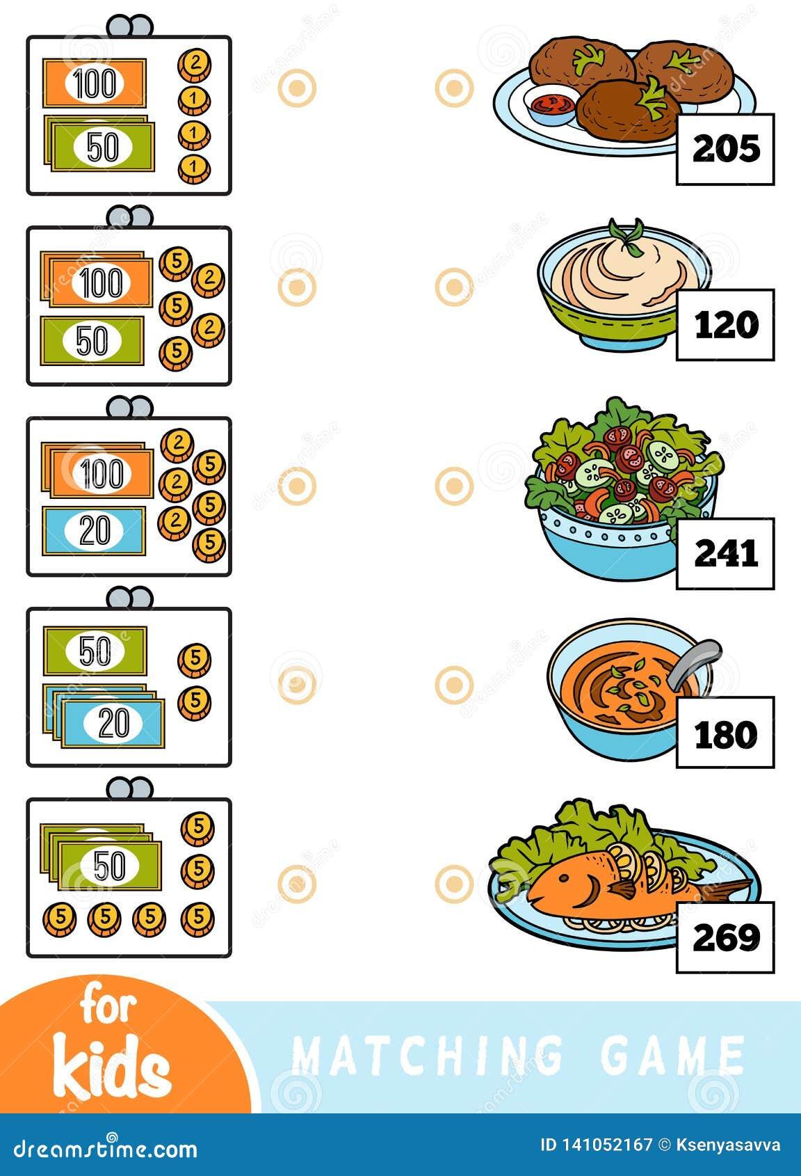 Juego a juego para los niños Cuente cuánto es el dinero en cada cartera y elija el precio correcto Un sistema de diversos platos