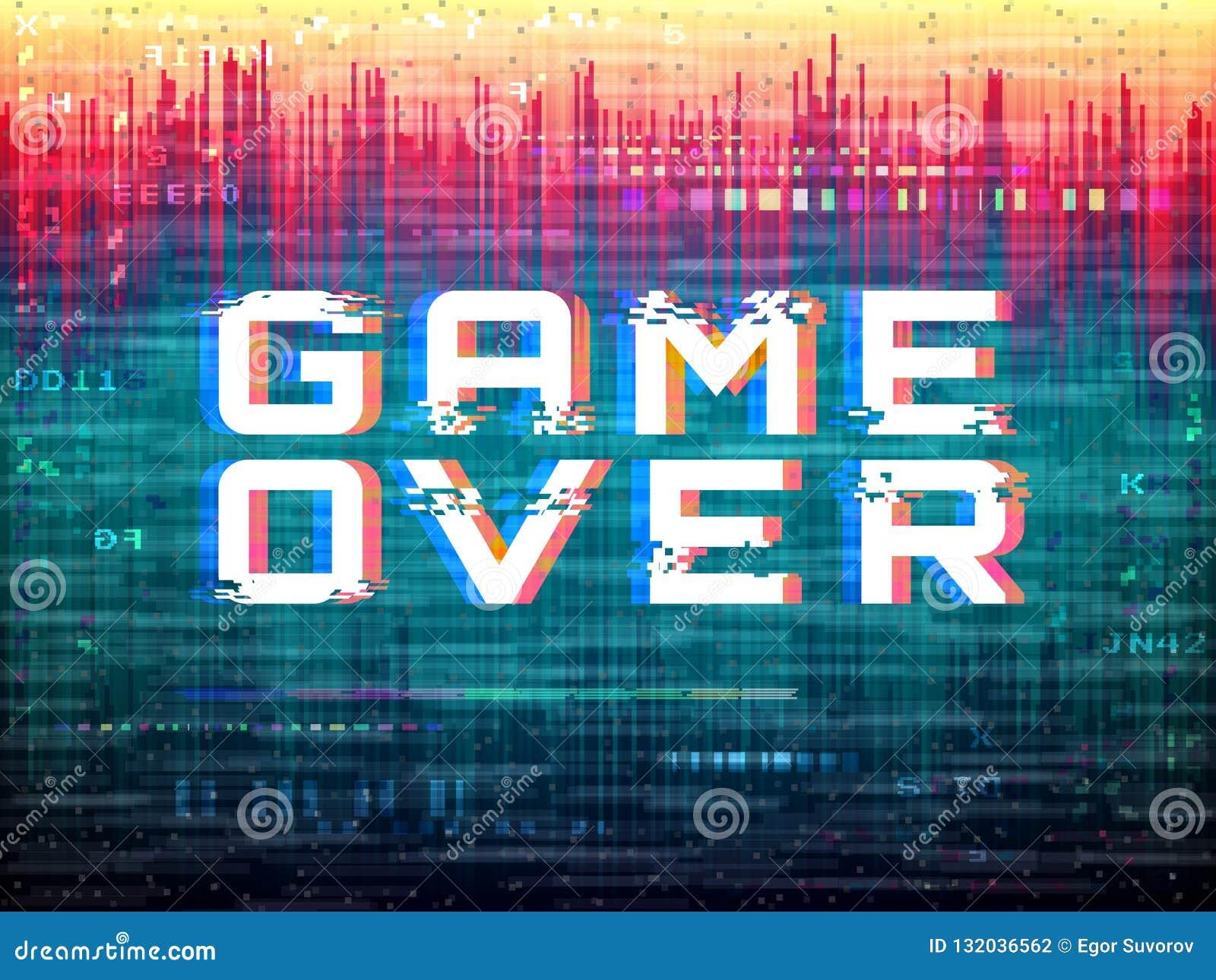 Juego sobre el texto Interferencia del videojuego Distorsiones del color y ruido del pixel Plantilla del error de Digitaces Efect