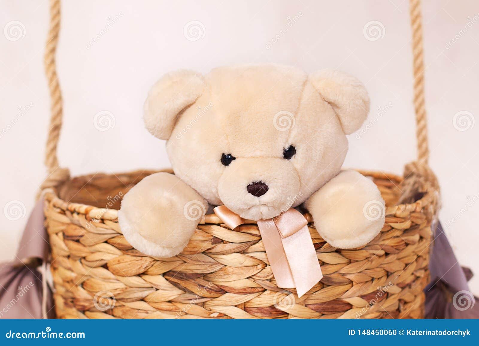 Juegos de niños con un oso de la felpa Juguetes de los ni?os Peluche que se sienta en la cesta del globo, aerostato Oso de peluch