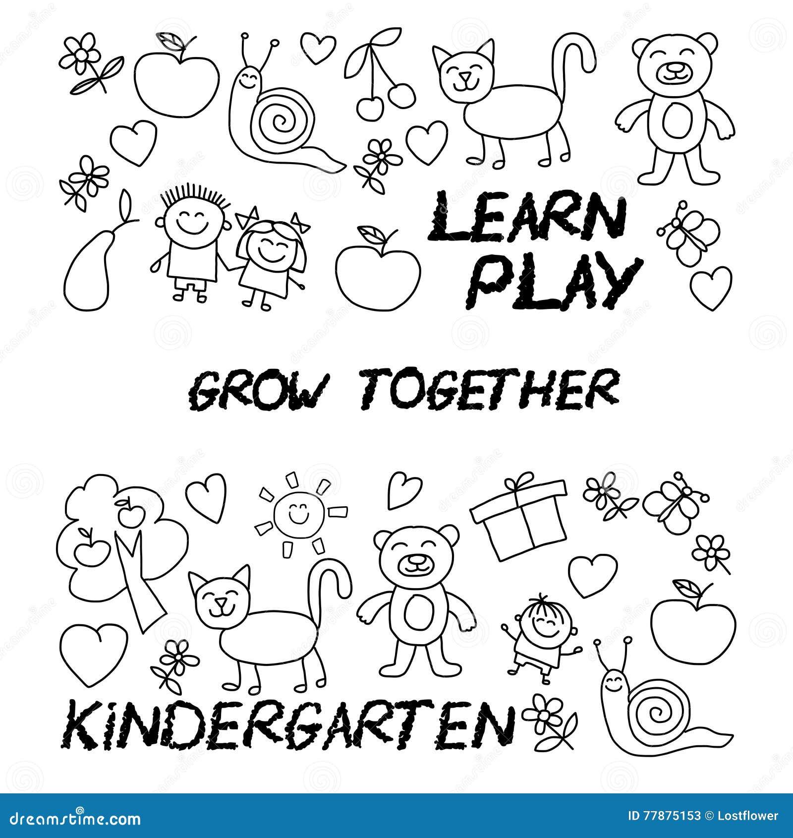 Juegue Aprenden Y Crecen Junto Imagen Del Vector Ilustración del Vector