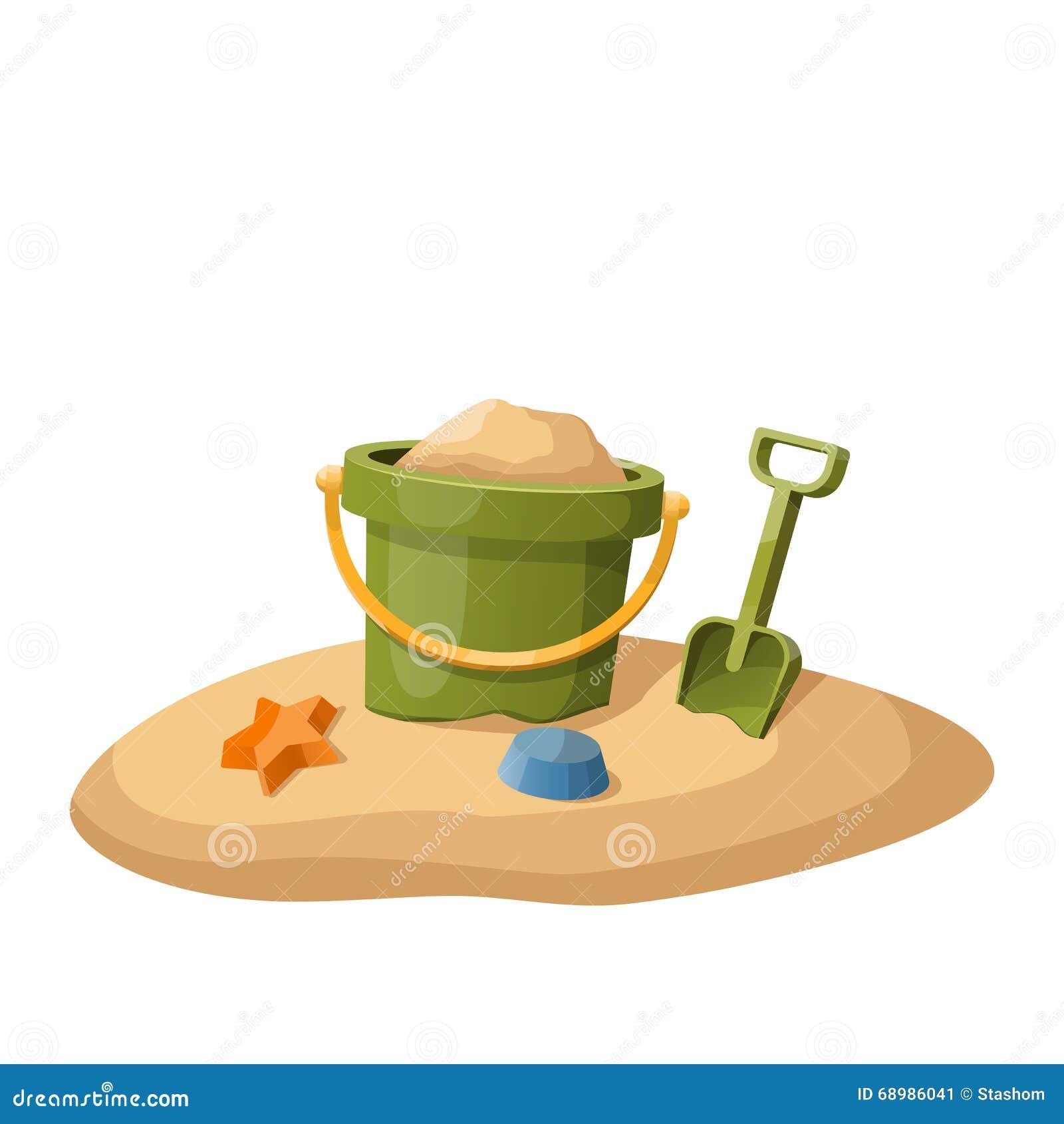 Juegue el cubo y la pala en arena en blanco