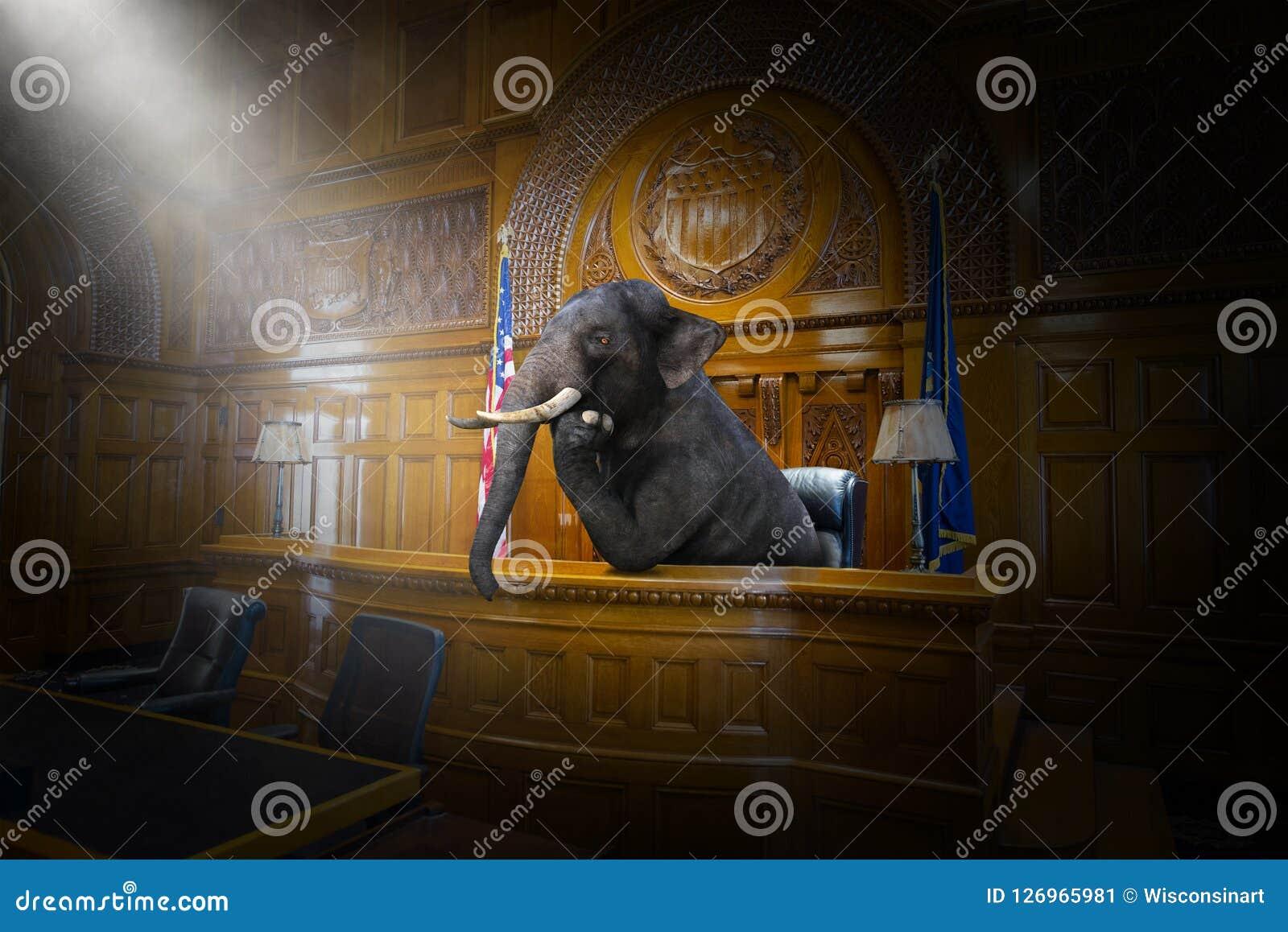 Juez surrealista divertido del elefante, abogado, sala de tribunal, ley