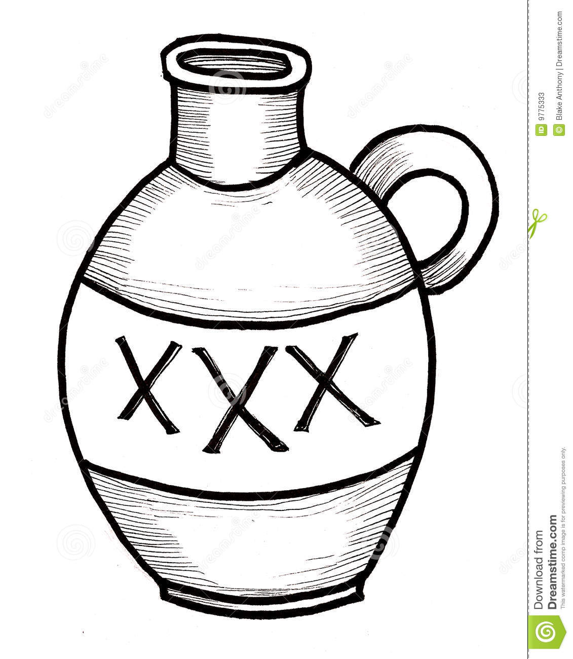 Line Drawing Jug : Jug of booze stock photos image