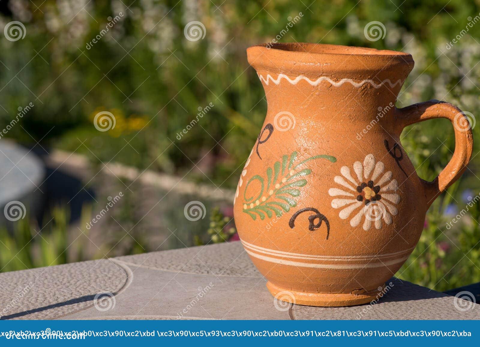 Jug With Clay Closeup  Jug With Ceramics Editorial Photo