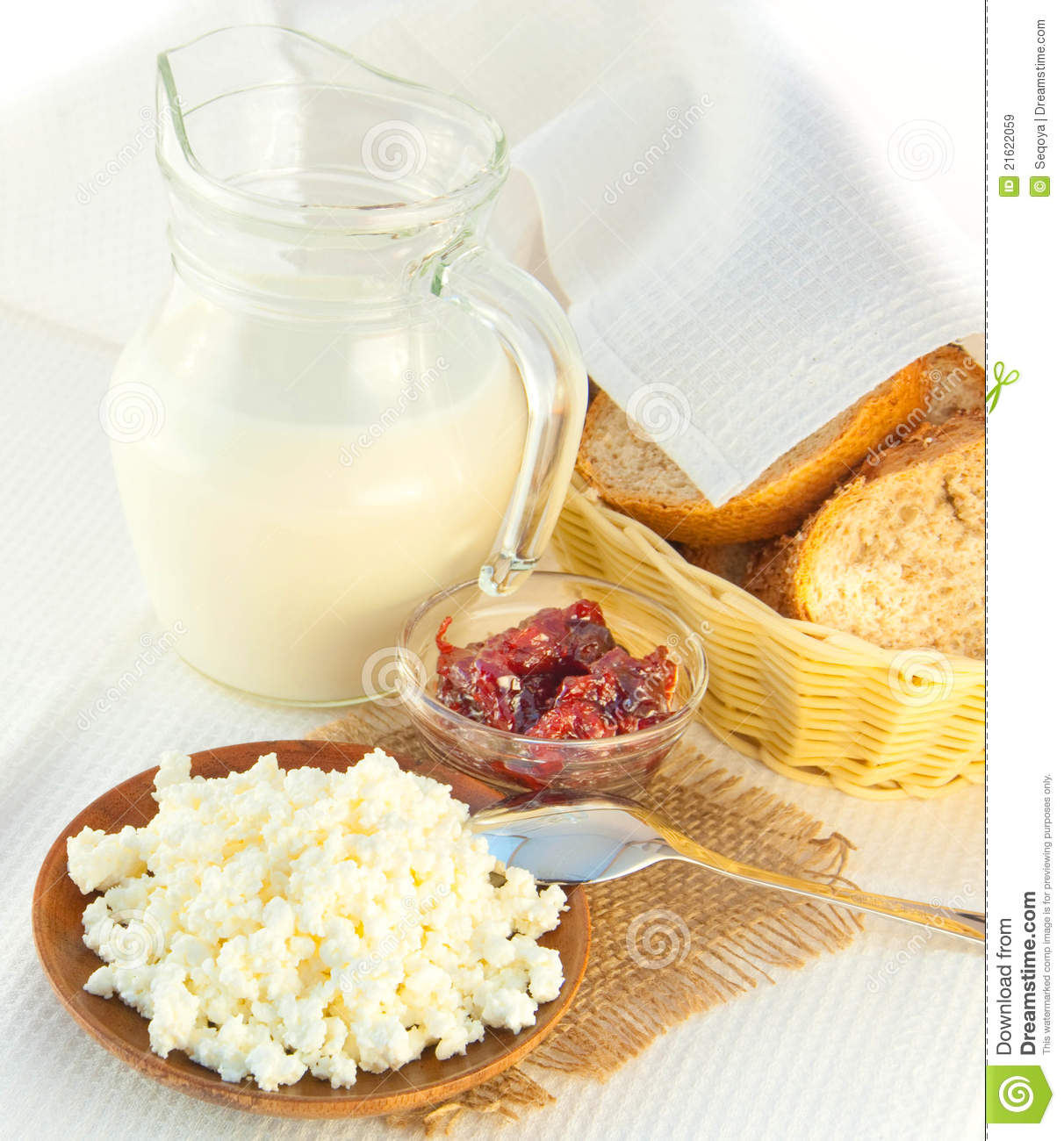 Cottage Cheese With Jam: Jug With Milk, Cottage Cheese And Jam Royalty Free Stock