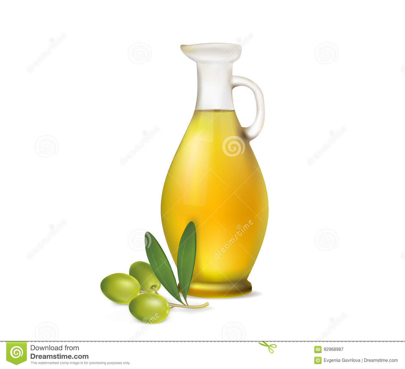 Jug of olive oil and olive branch on a white background