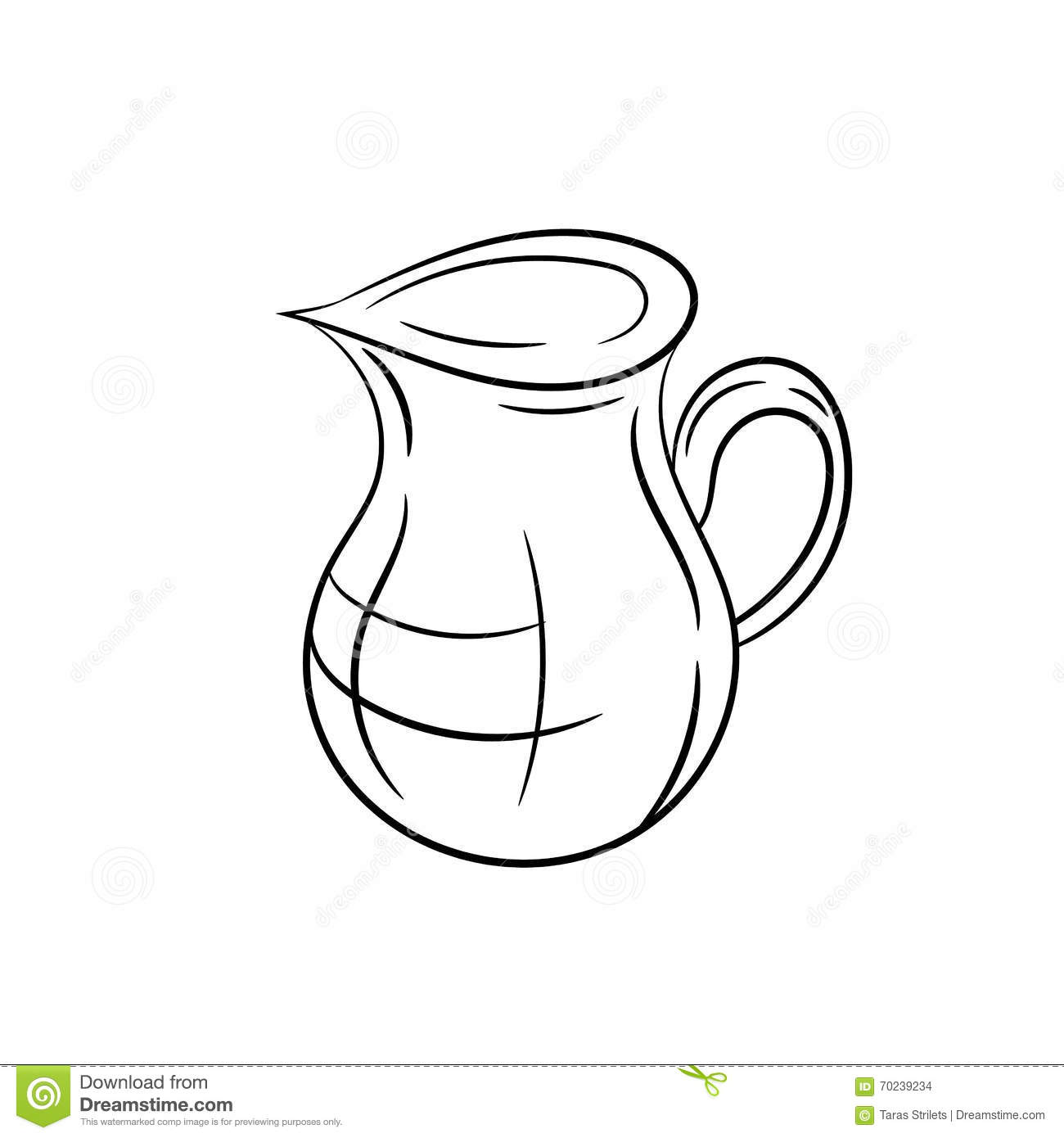 Line Drawing Jug : Jug on a white background stock vector image