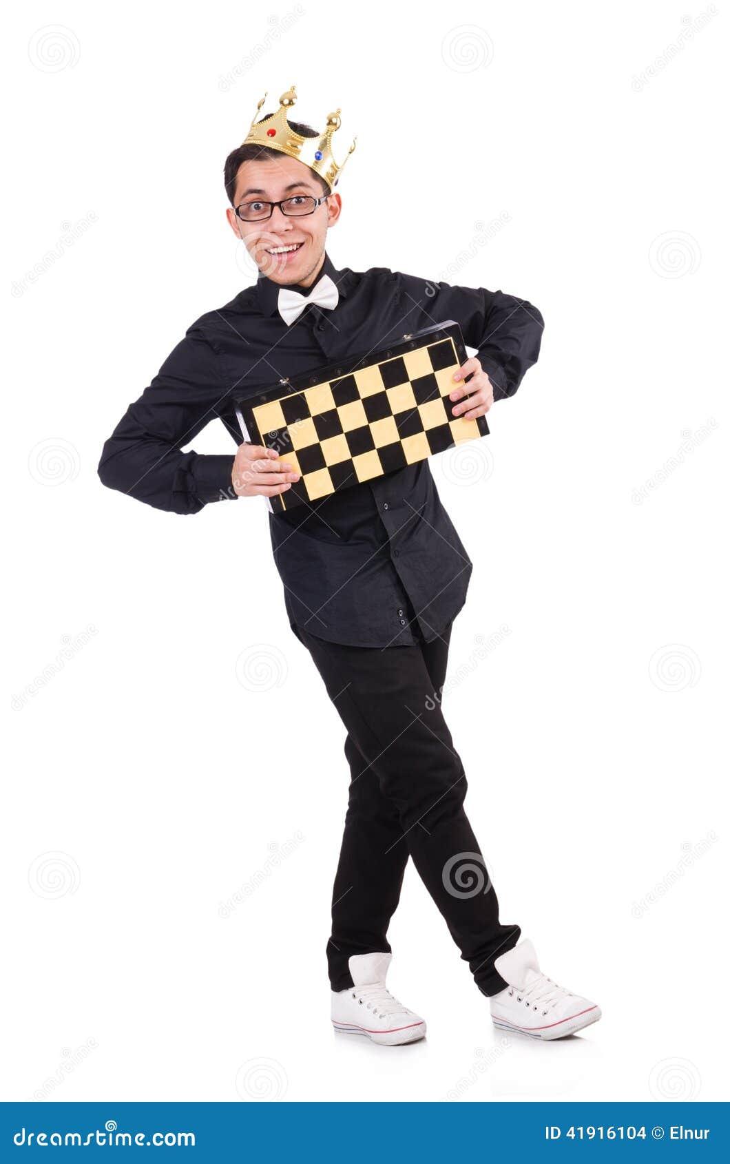 Jugador de ajedrez divertido aislado