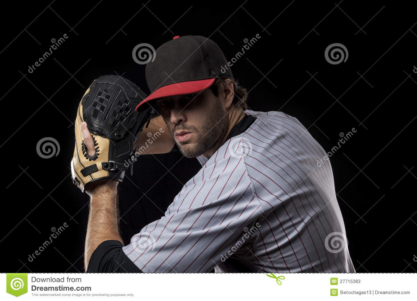 Jugador De Béisbol En Un Uniforme Rojo. Imagen de archivo - Imagen ... 3b48cd83469
