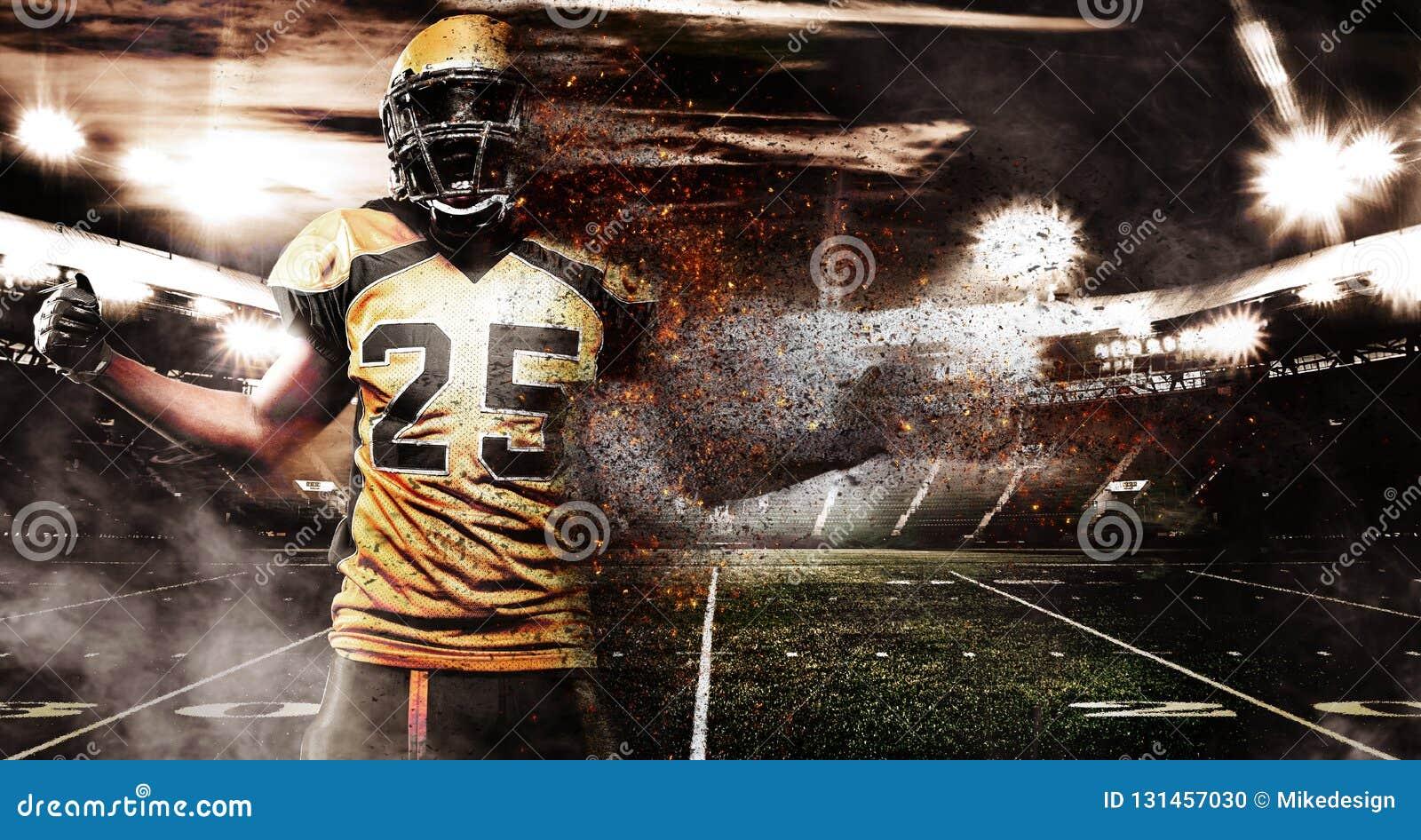 Jugador de fútbol americano, atleta en casco en estadio en fuego Papel pintado del deporte con el copyspace en fondo