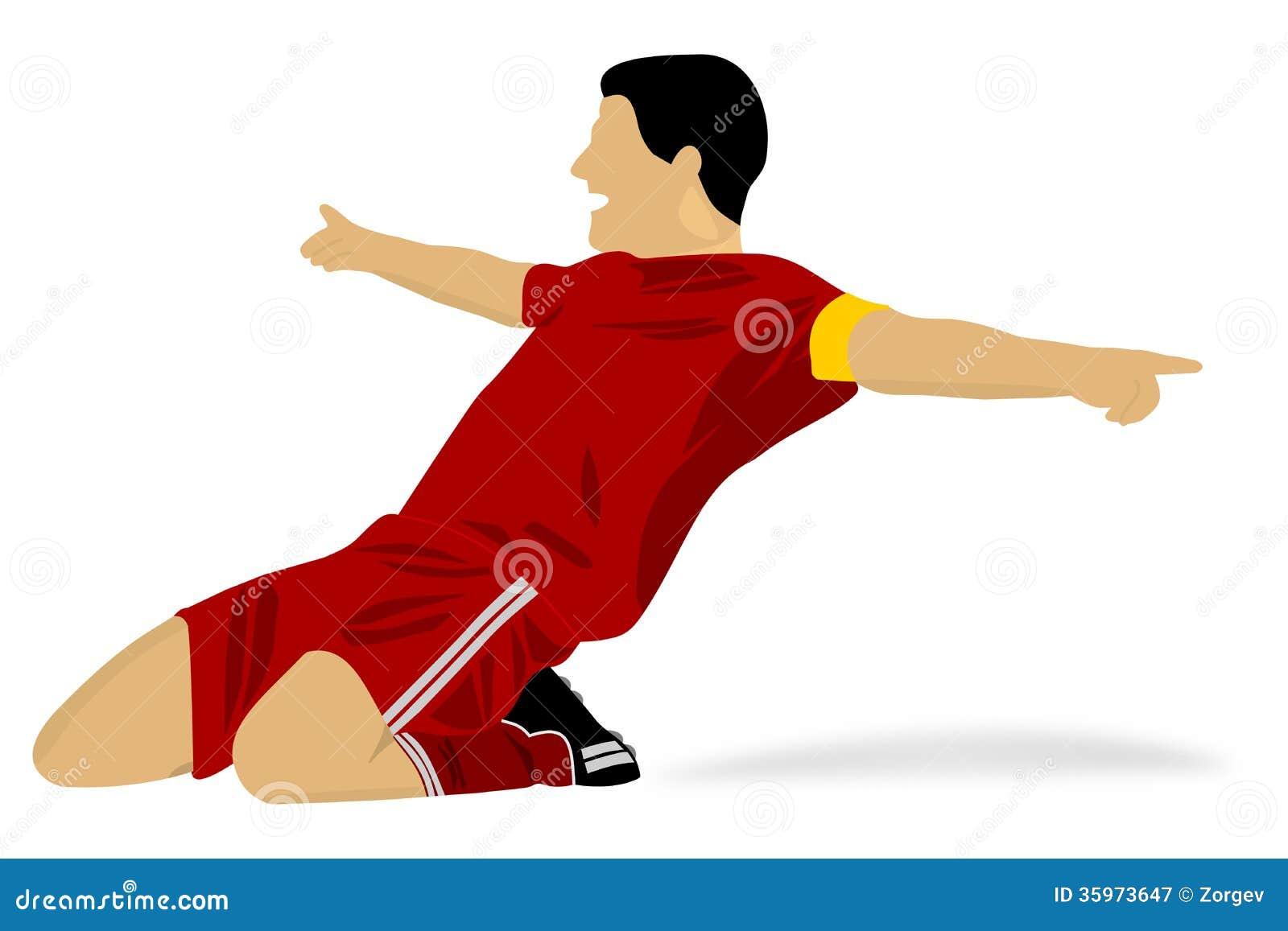Jugador de fútbol feliz que celebra una meta