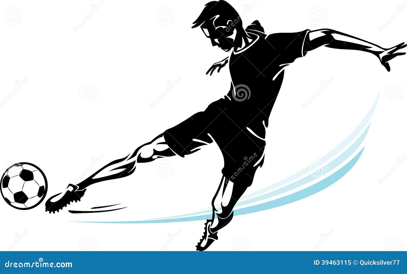Jugador De Fútbol Y Su Retroceso De La Velocidad Stock de