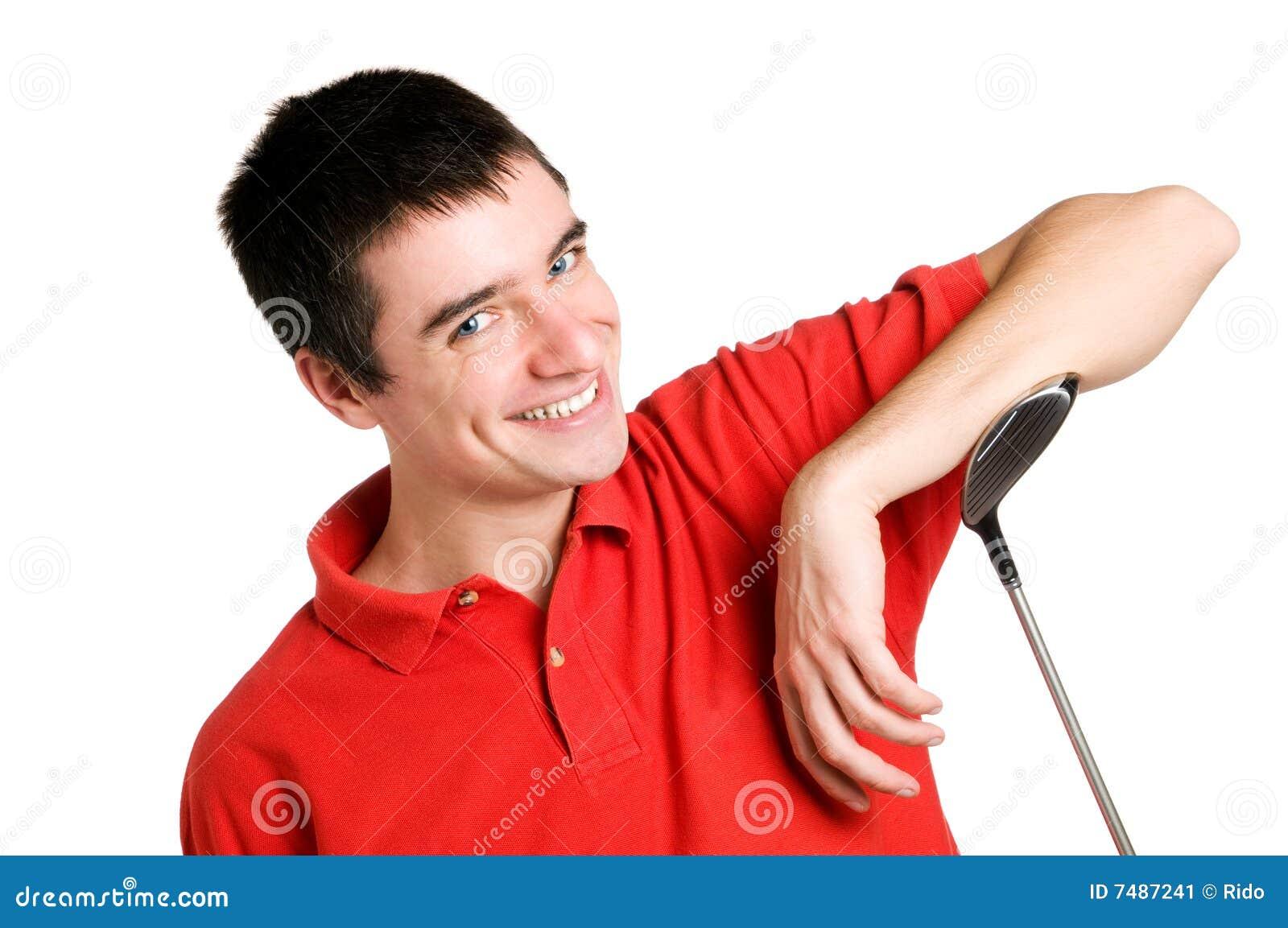 Jugador de golf sonriente