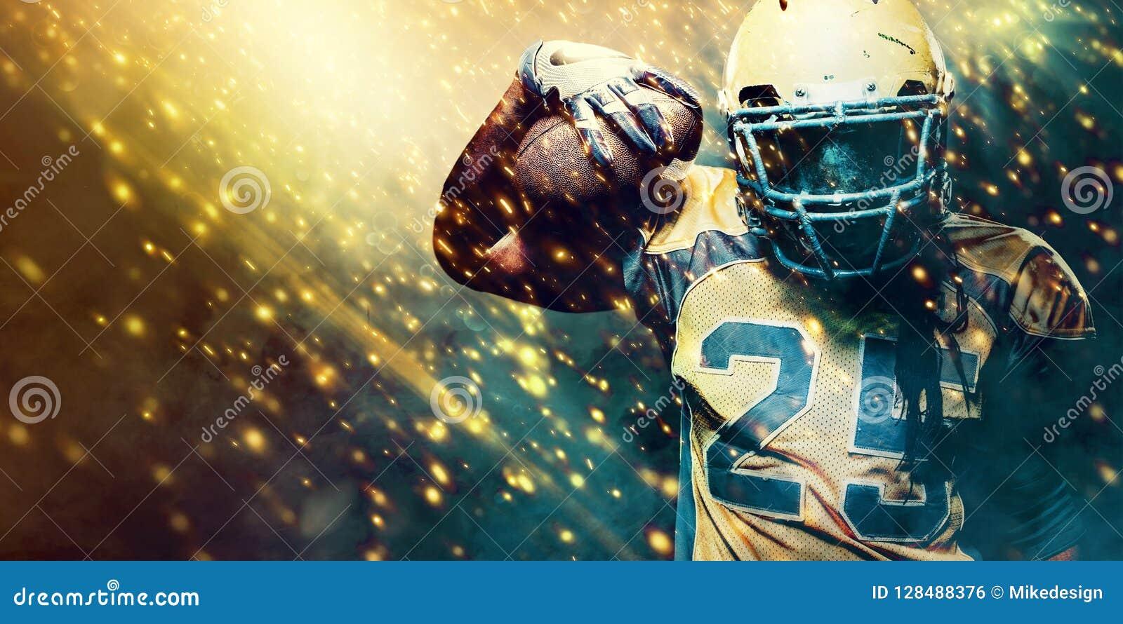 Jugador del deportista del fútbol americano en el estadio que corre en la acción Papel pintado del deporte con el copyspace