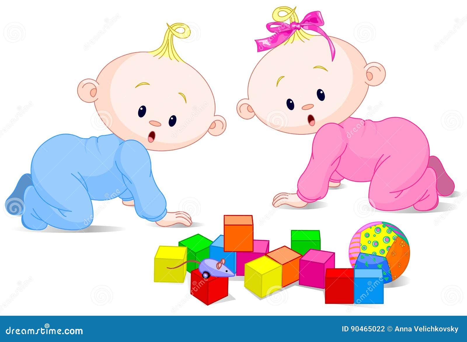bebes jugando con bebes