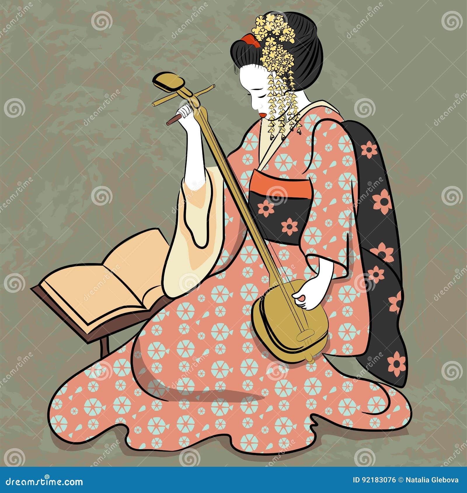 Jugar El Estilo Antiguo De La Mujer Japonesa Clásica Antigua De