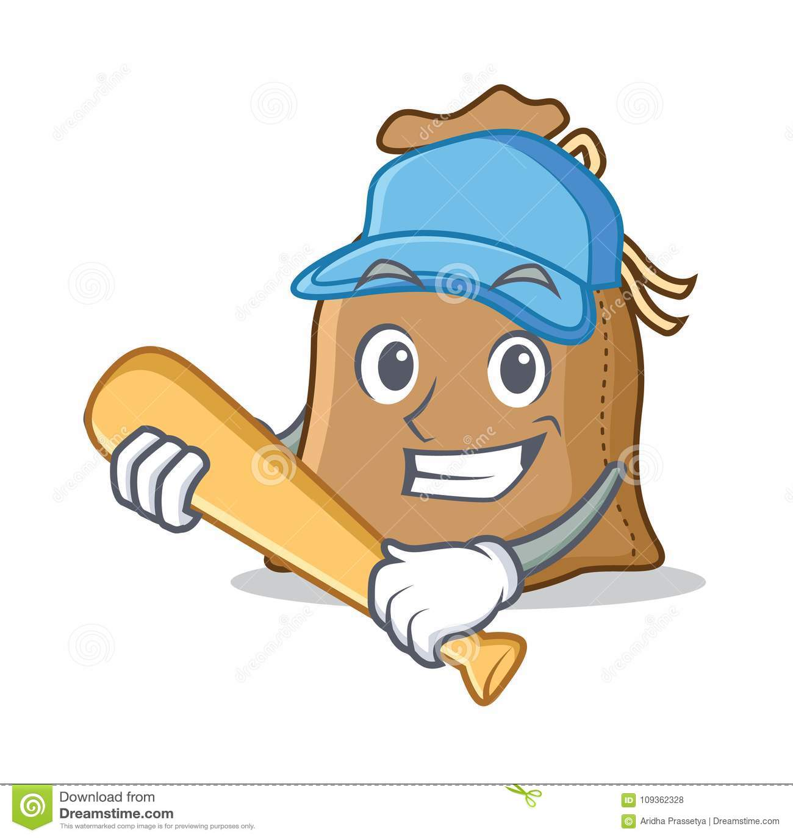 Jugar estilo de la historieta del carácter del saco del béisbol