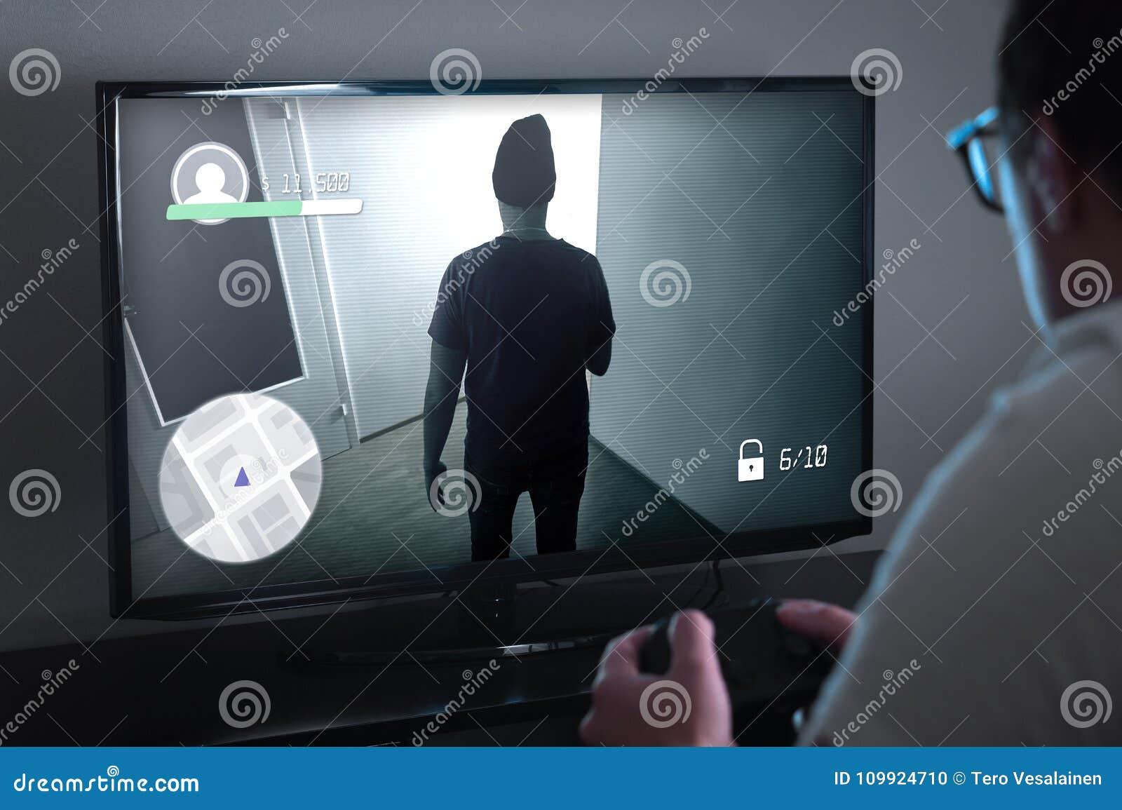 Jugar juegos de la consola o concepto del apego del videojuego