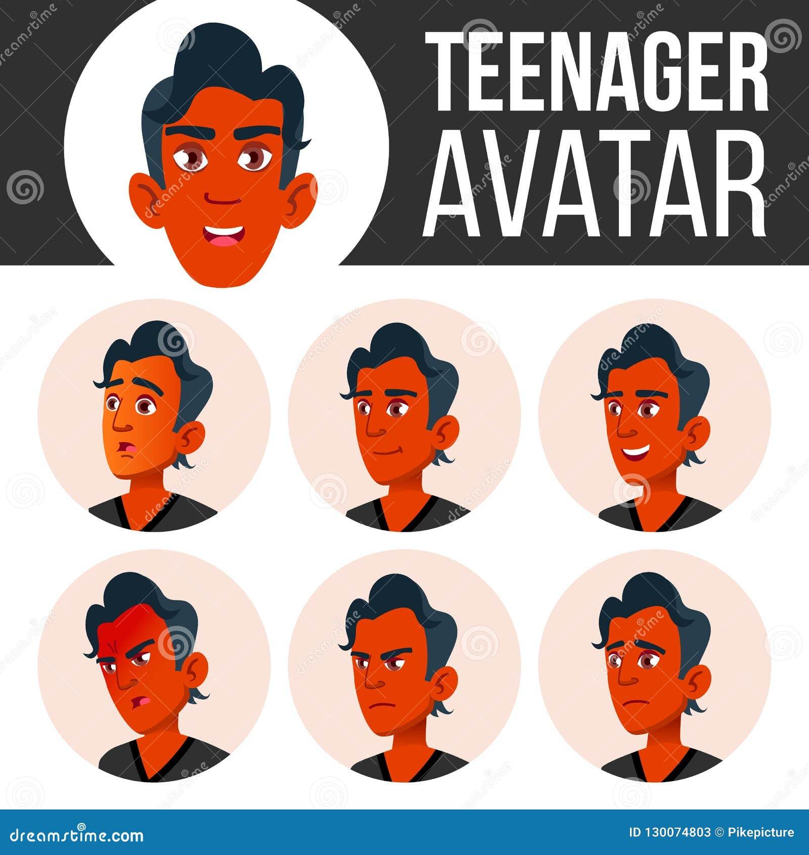 Jugendlich Jungen-Avatara-gesetzter Vektor Stellen Sie Gefühle gegenüber Flach, Porträt Inder, Hindu Asiatisch Jugend, kaukasisch