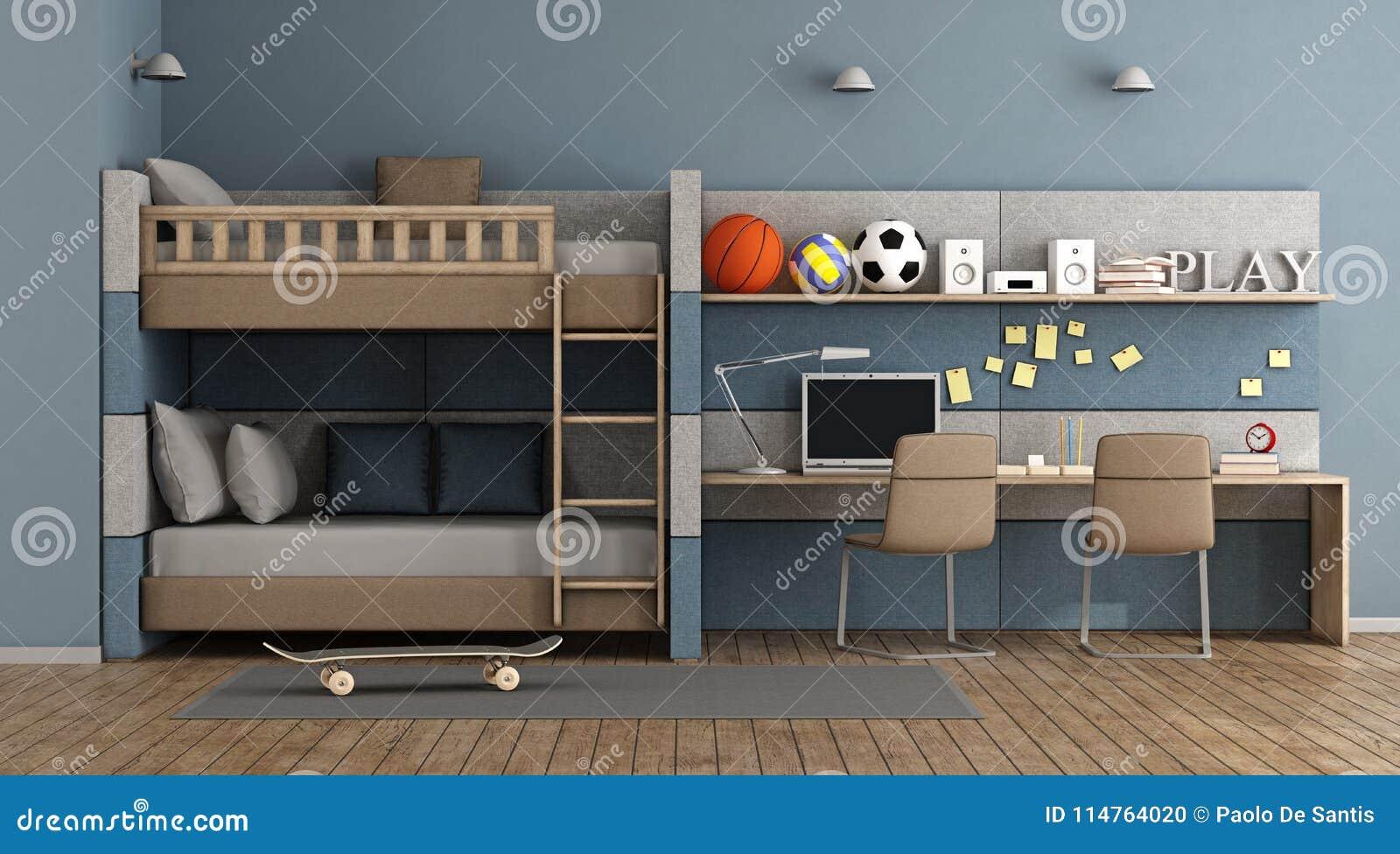 Etagenbett Paolo : Jugendlich raum mit etagenbett stock abbildung illustration von