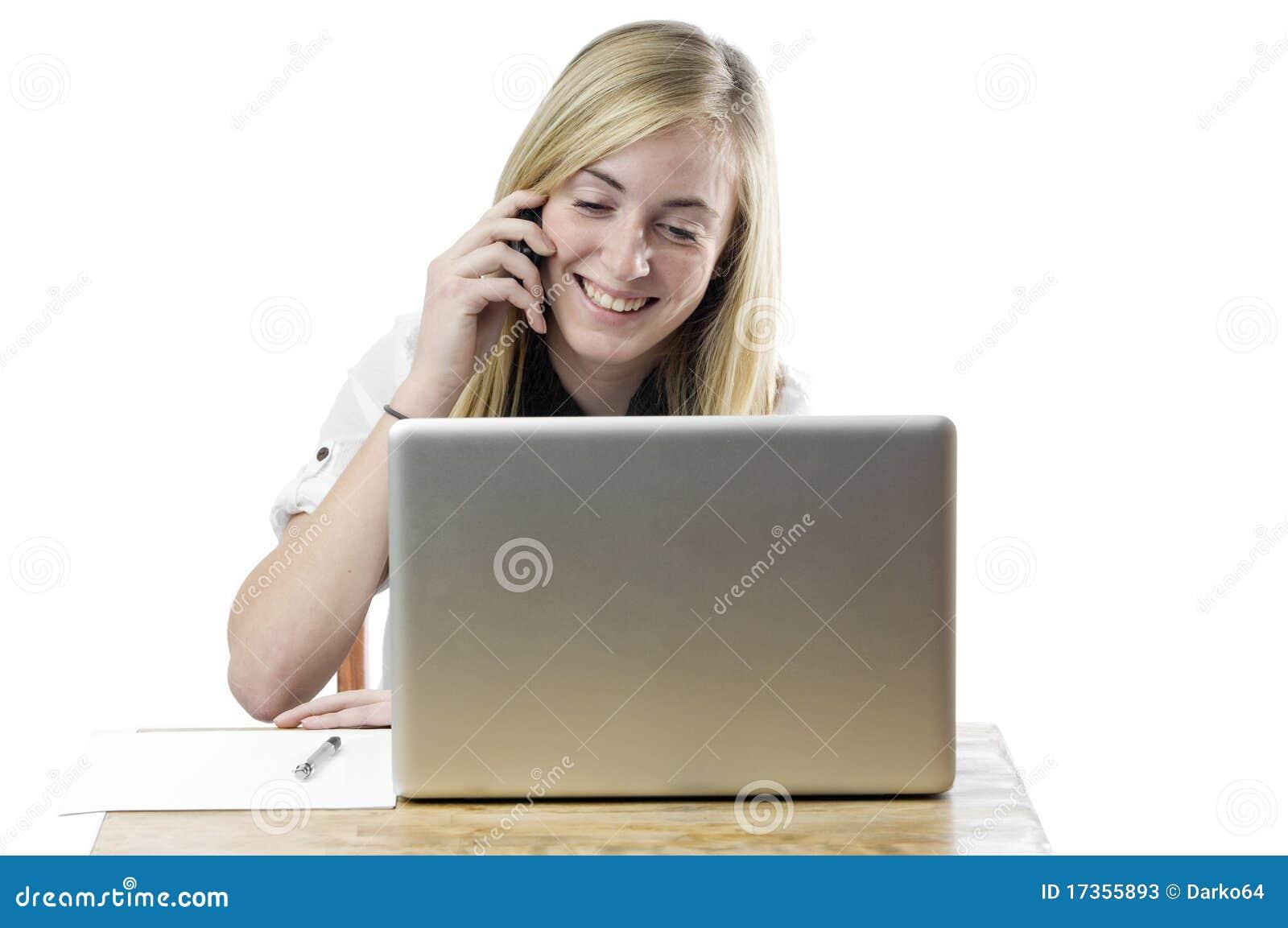 jugendliche mit laptop computer und handy stockbild bild von ausgabe frustriert 17355893. Black Bedroom Furniture Sets. Home Design Ideas
