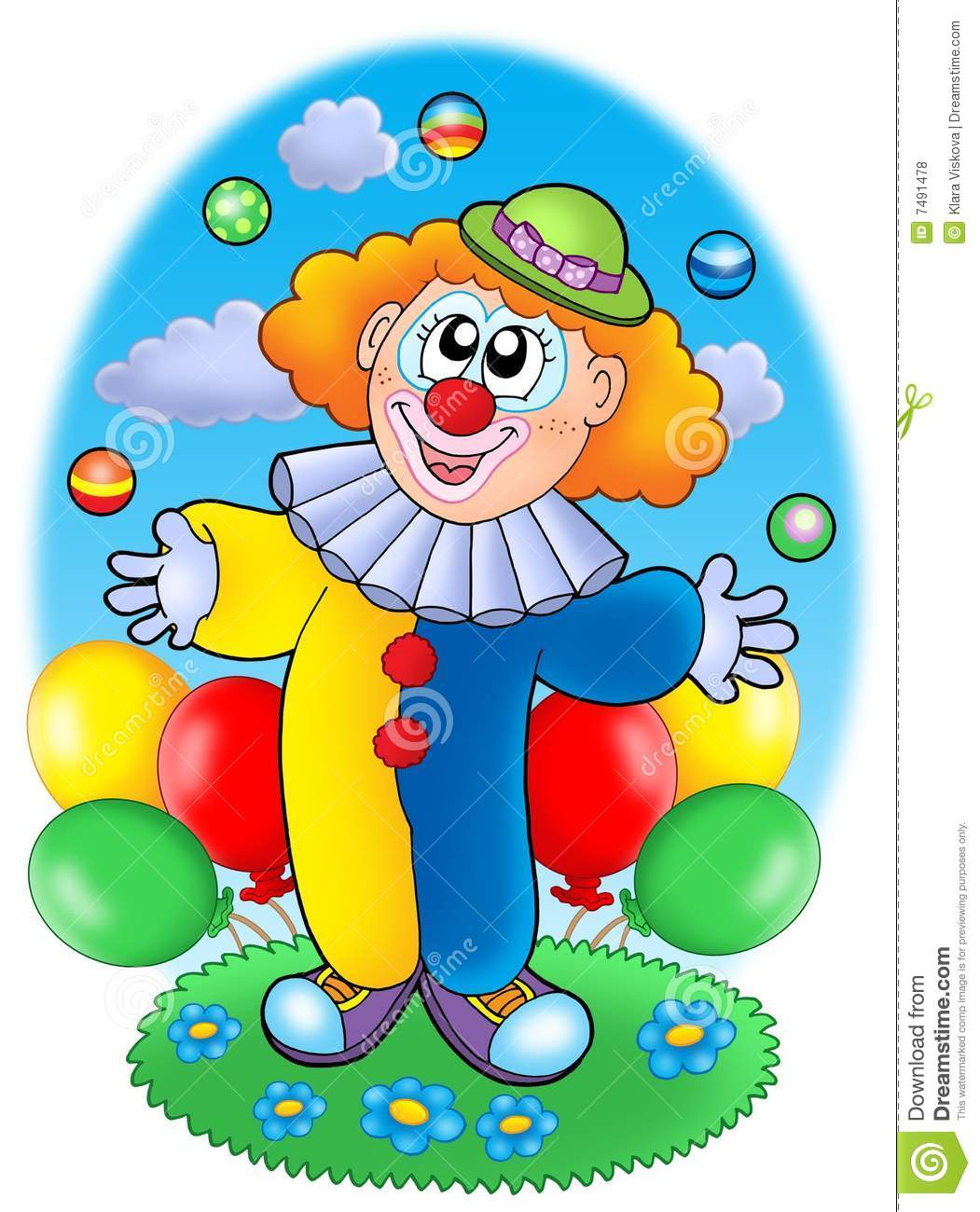 Juggling Cartoon Clown With Balloons Royalty Free Stock
