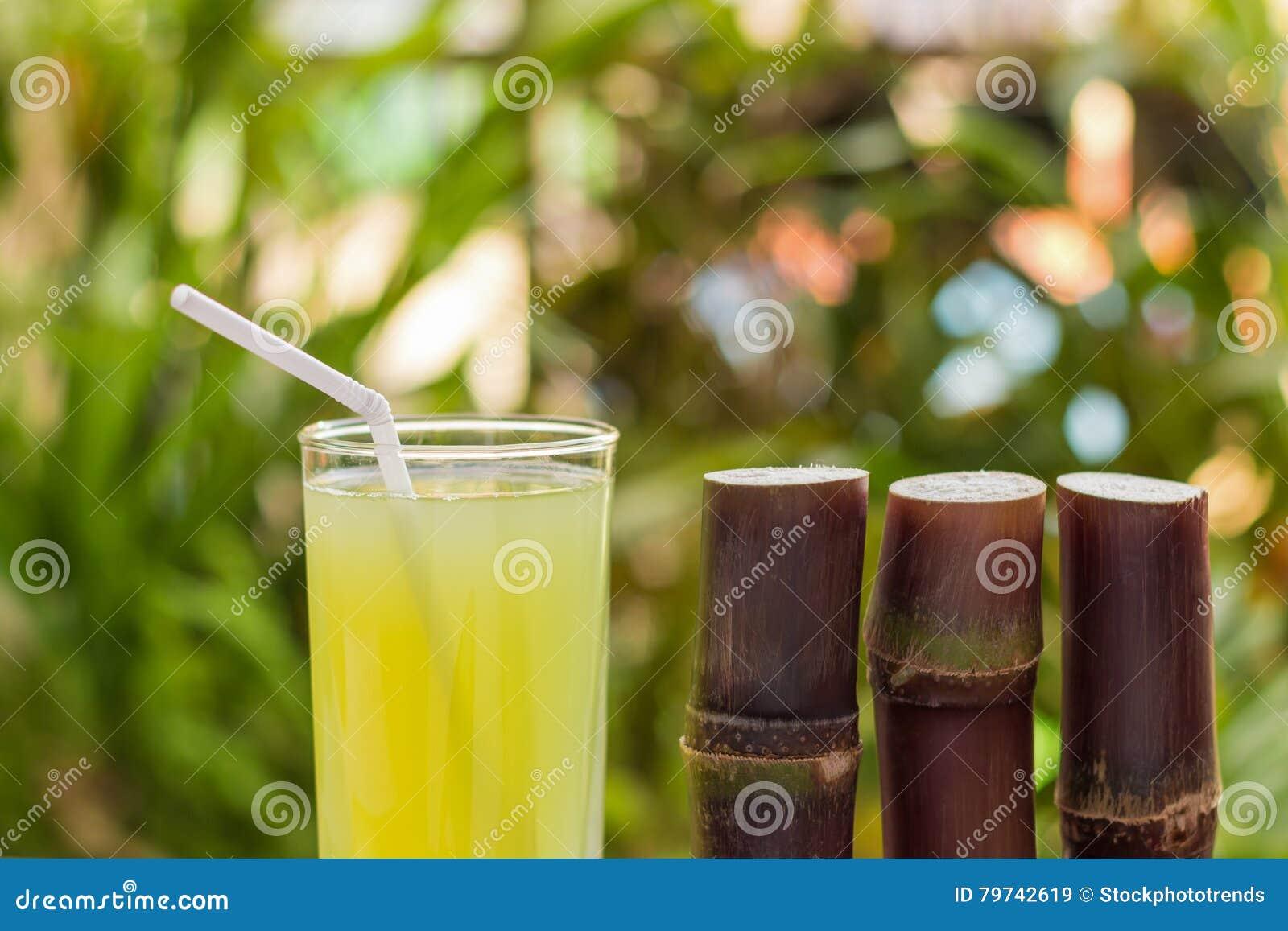 Jugo de la caña de azúcar con el pedazo de caña de azúcar en fondo de madera