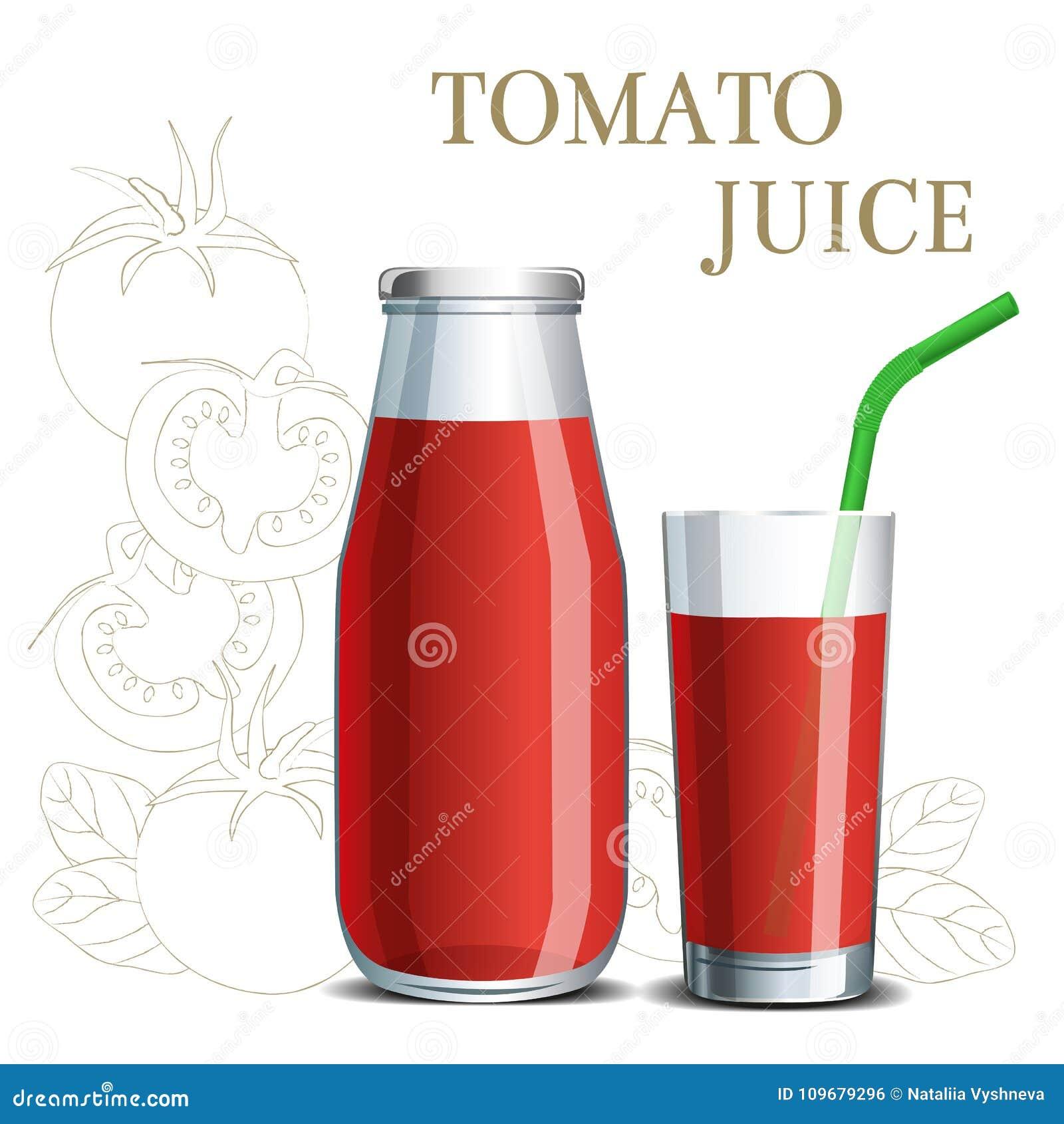 Jugo de tomate realista en un tarro y un vidrio