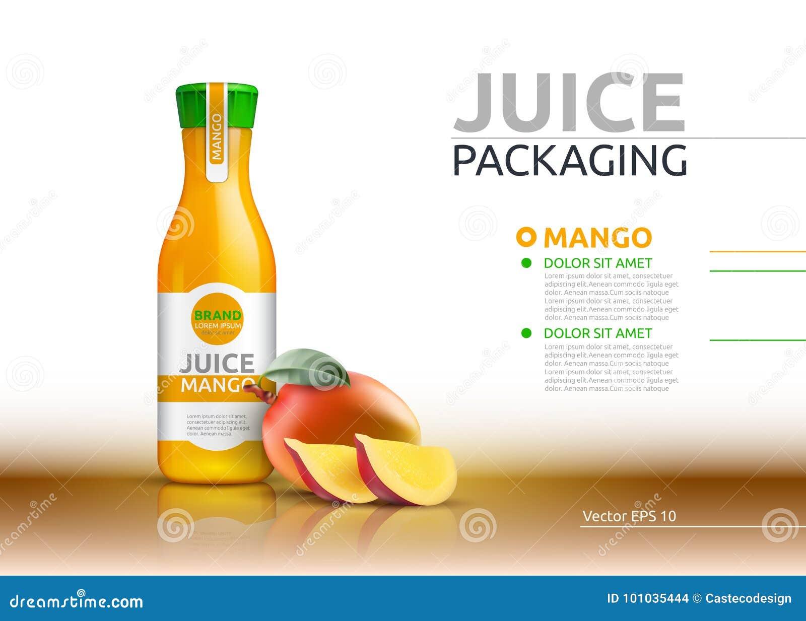 Jugo del mango que empaqueta mofa realista del vector para arriba La botella de cristal jugosa de las frutas hace publicidad de p