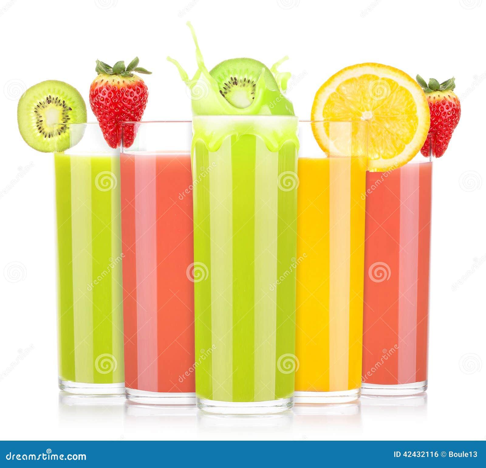 Jugos de fruta sabrosos del verano en vidrio con el chapoteo