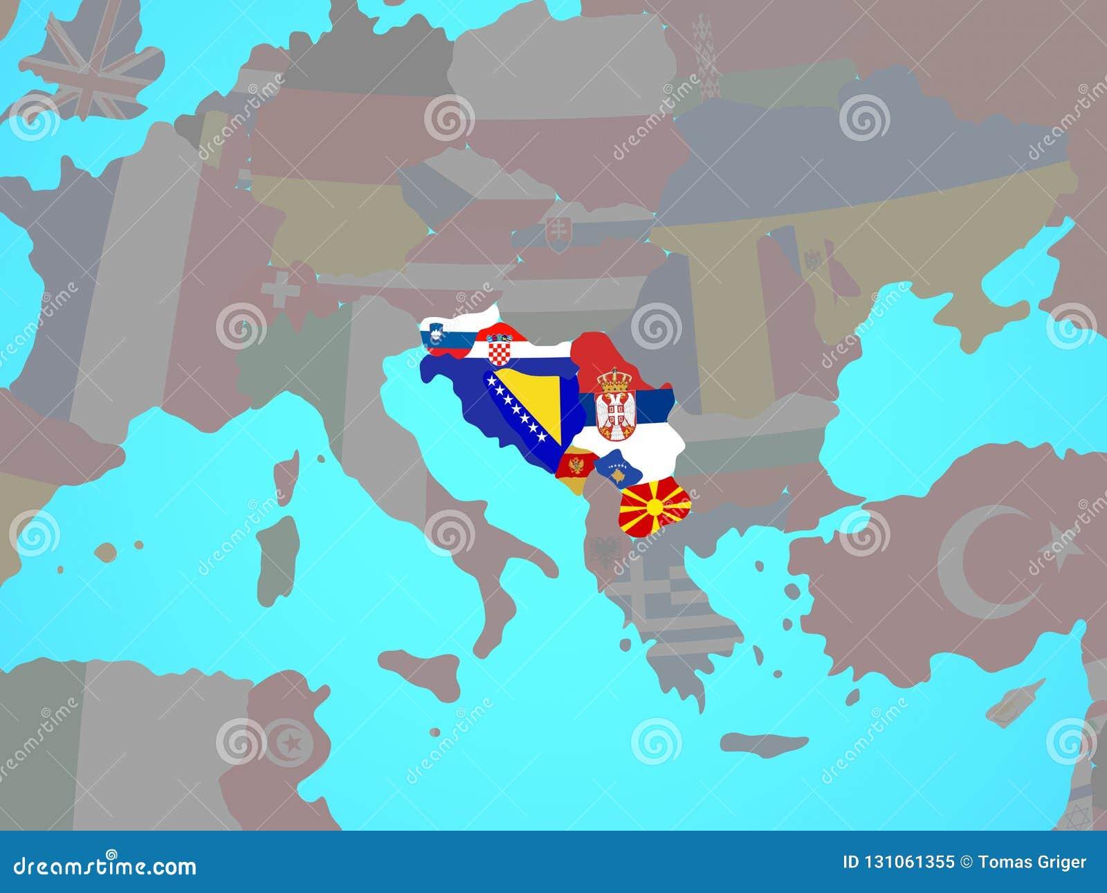 Jugoslawien Karte.Jugoslawien Mit Flaggen Auf Karte Stock Abbildung Illustration Von