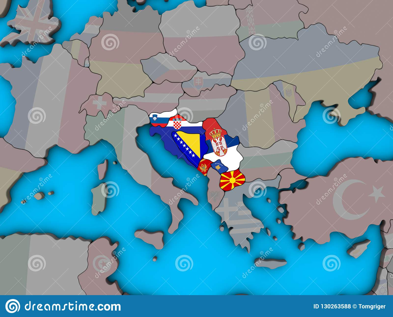 Jugoslawien Karte.Jugoslawien Mit Flaggen Auf Karte 3d Stock Abbildung Illustration