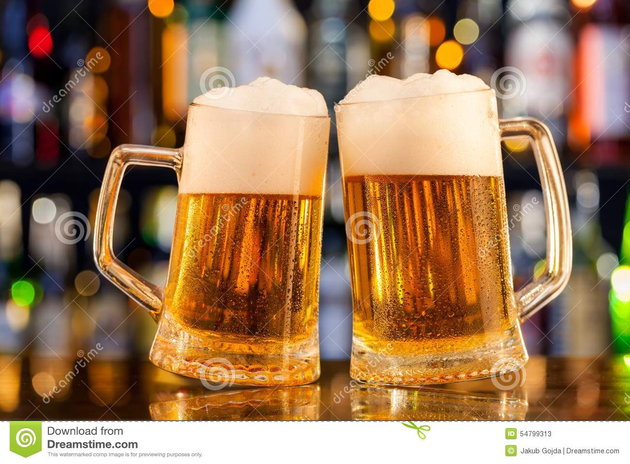 jugs of beer served on bar counter stock image image of nobody