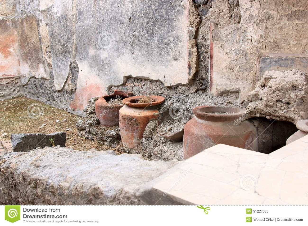 Download Jugs In Casa Del Frutteto In Roman Pompeii, Italy Stock Image - Image of destroyed, excavation: 31227365