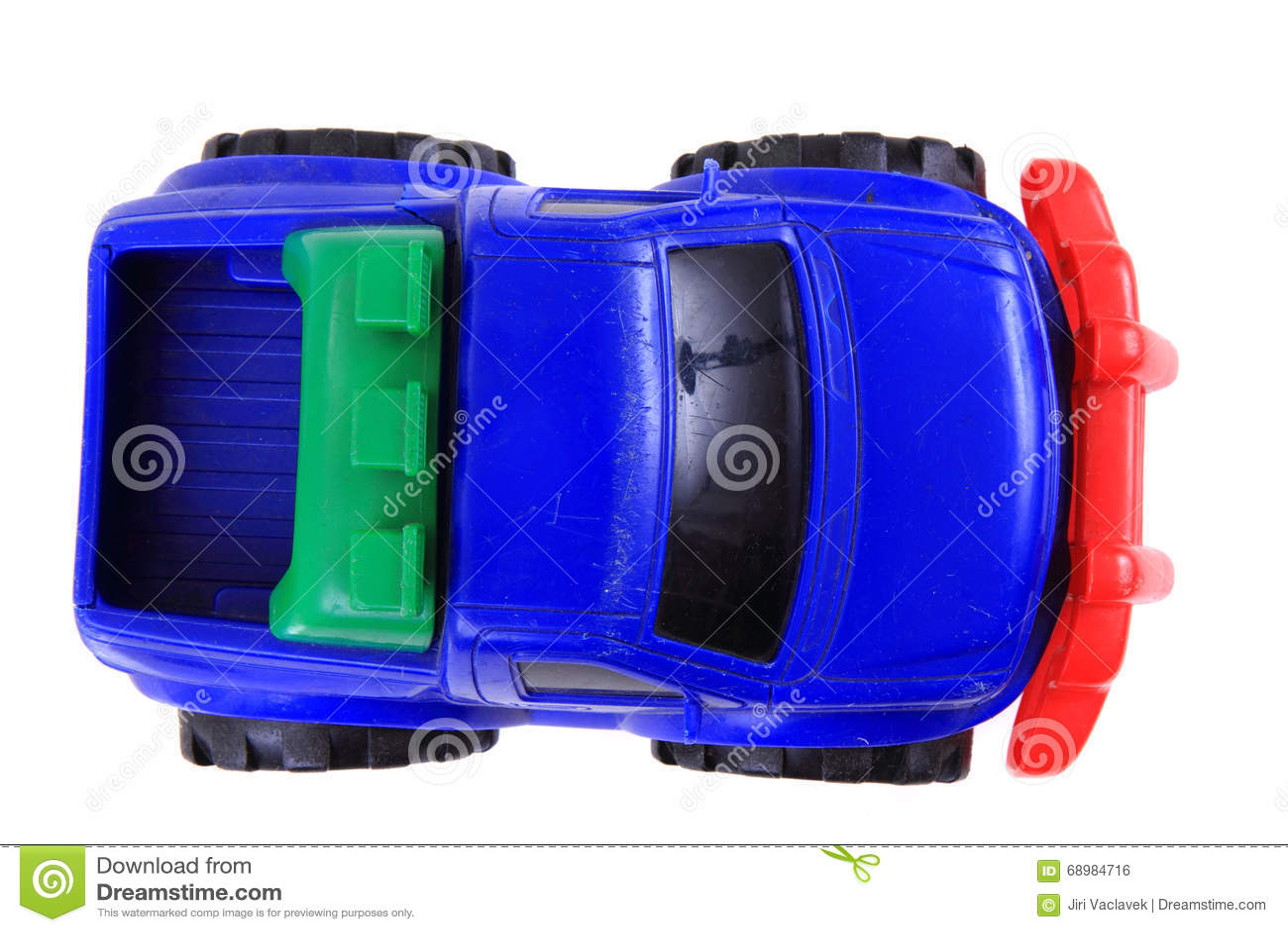 Juguete plástico azul del coche