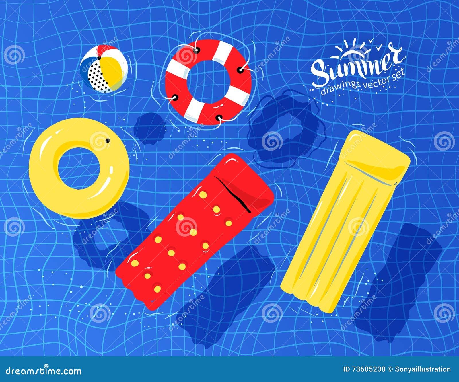 Juguetes De La Piscina Que Flotan En El Agua Ilustración Del Vector Ilustración De Juguetes Inflable 73605208