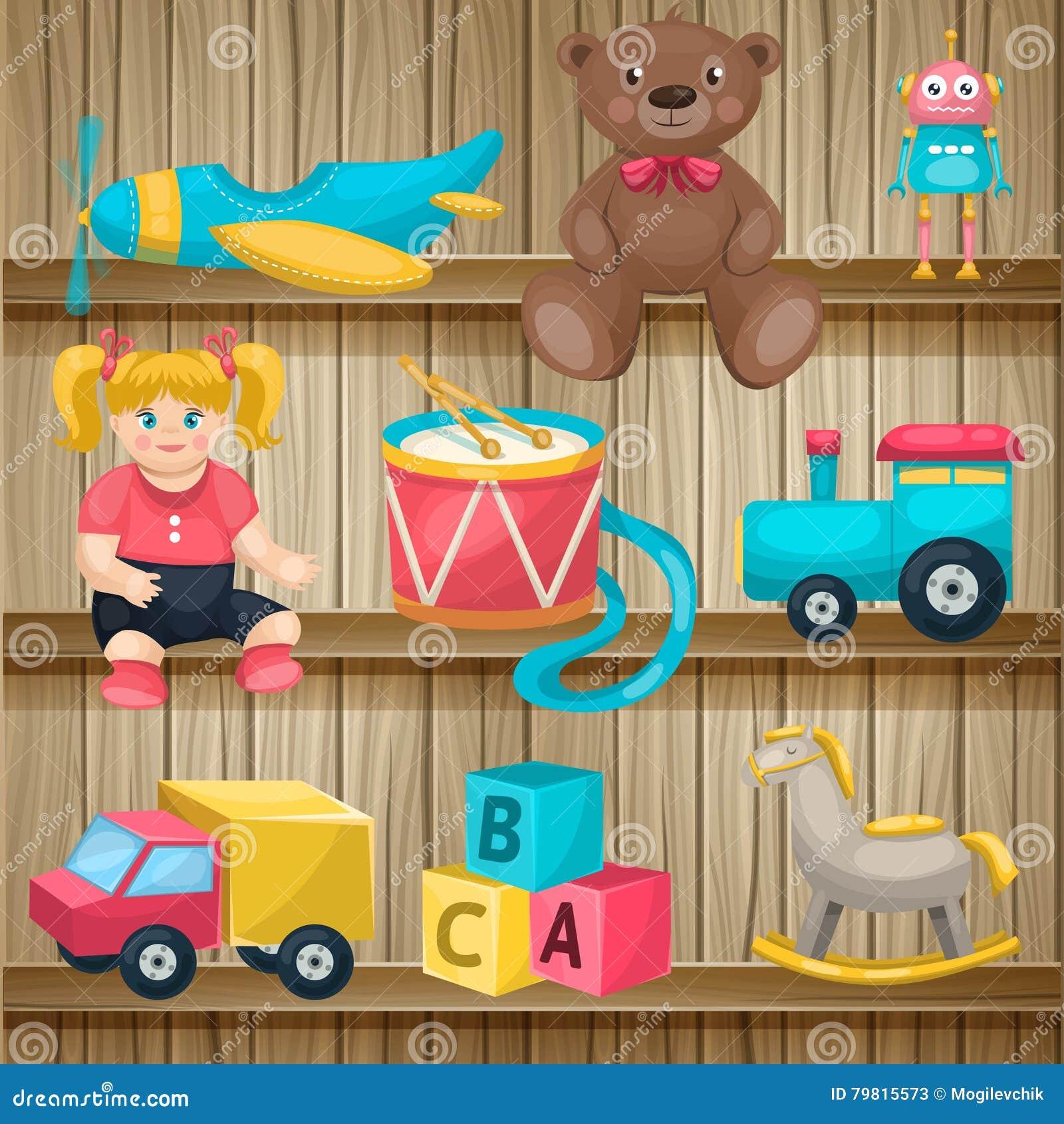 Niños Estantes Juguetes Del Vector En De Ilustración Los 0vm8wNn
