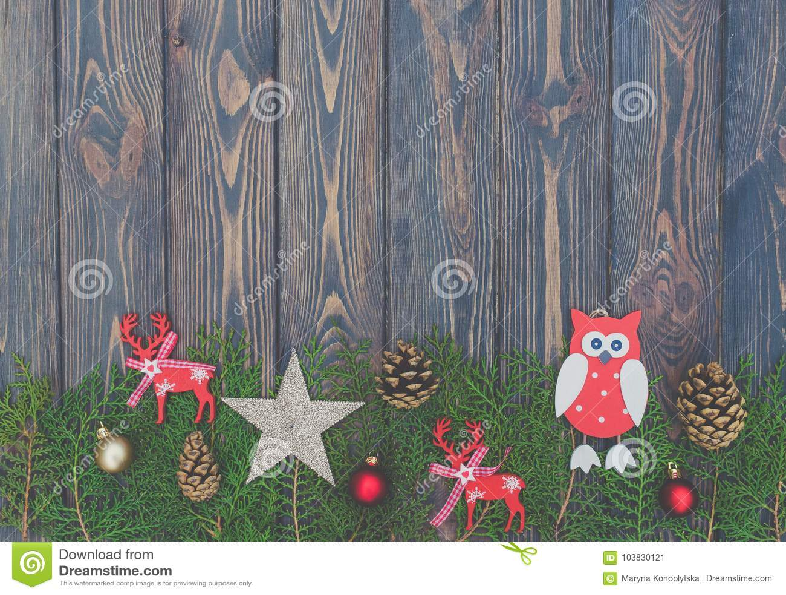 Juguetes Del árbol De Navidad Del Fondo Y Del Vintage De