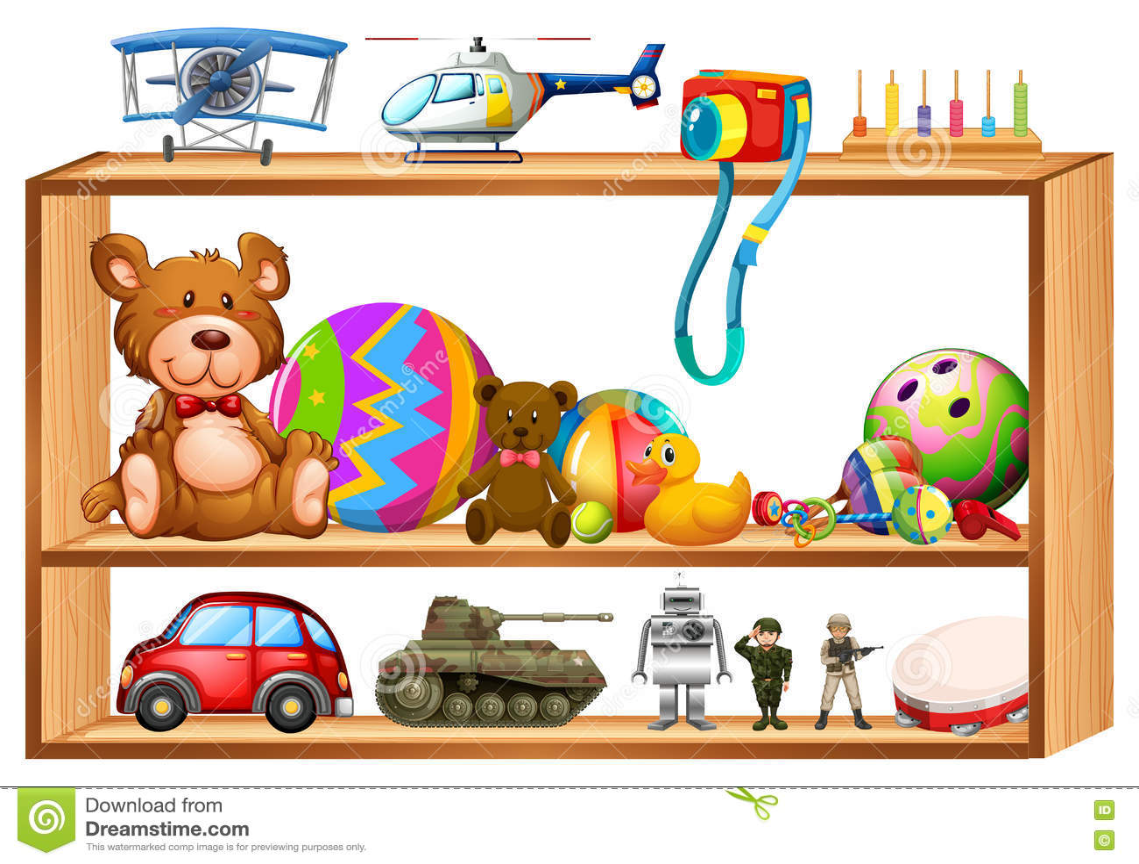 Juguetes en estantes de madera ilustraci n del vector - Estantes para guardar juguetes ...