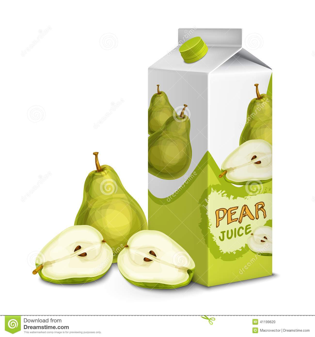 Juice Pack Pear Stock Vector
