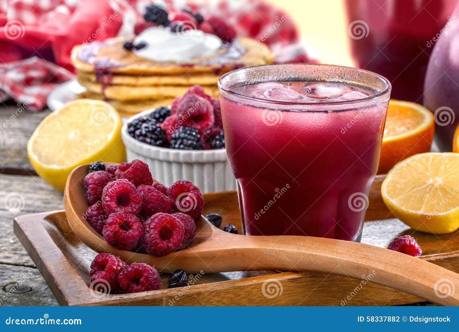 Juice of raspberries and blackberries