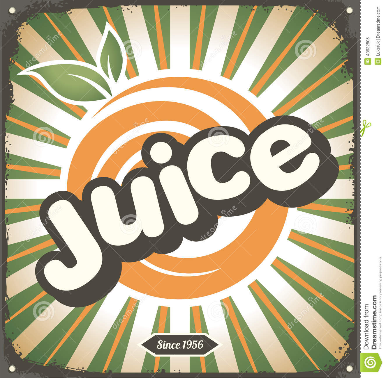 Juice Retro Tin Sign Design Stock Vector - Image: 48632805