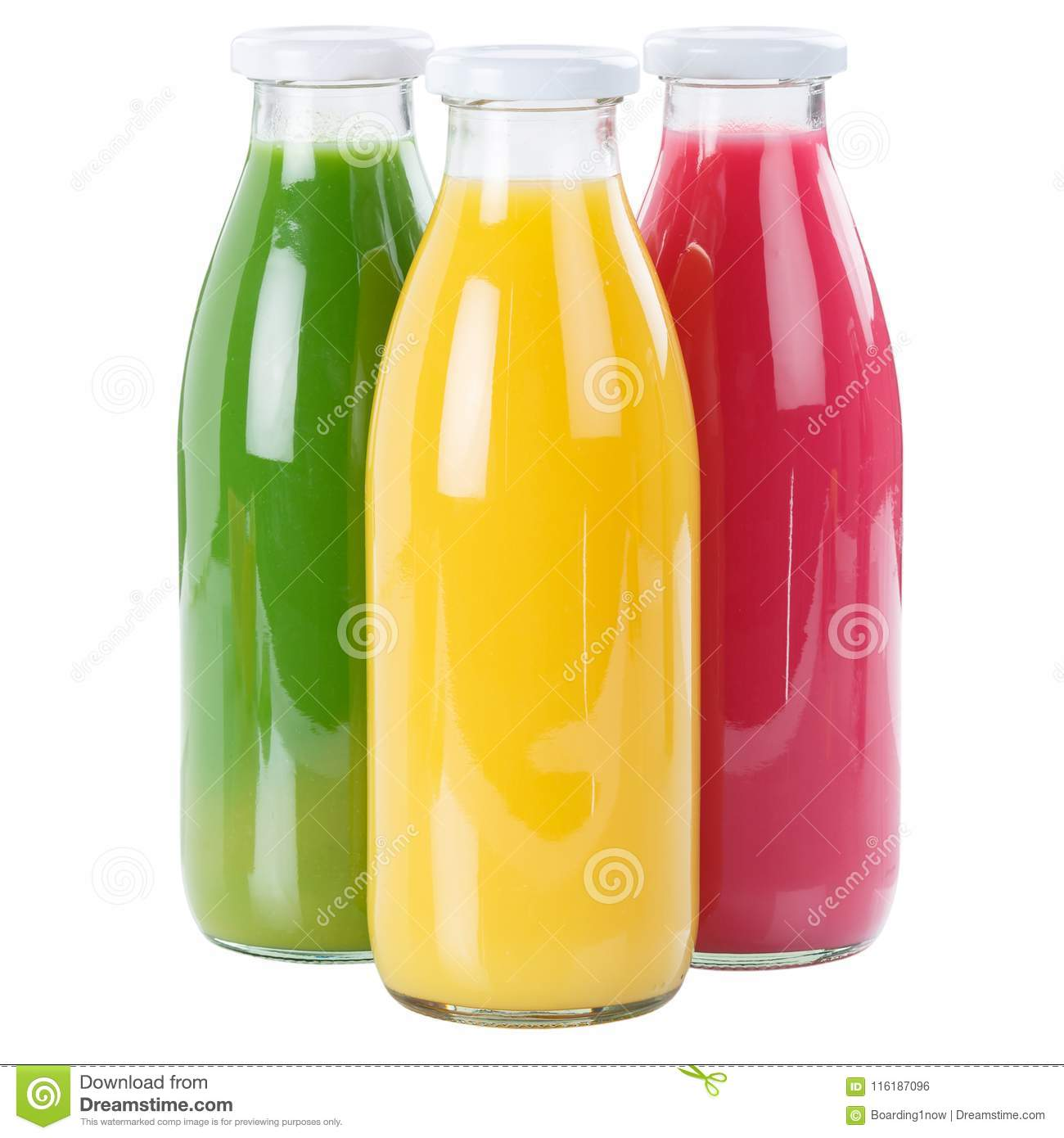 Juice smoothie fruit smoothies in bottle square isolated on whit