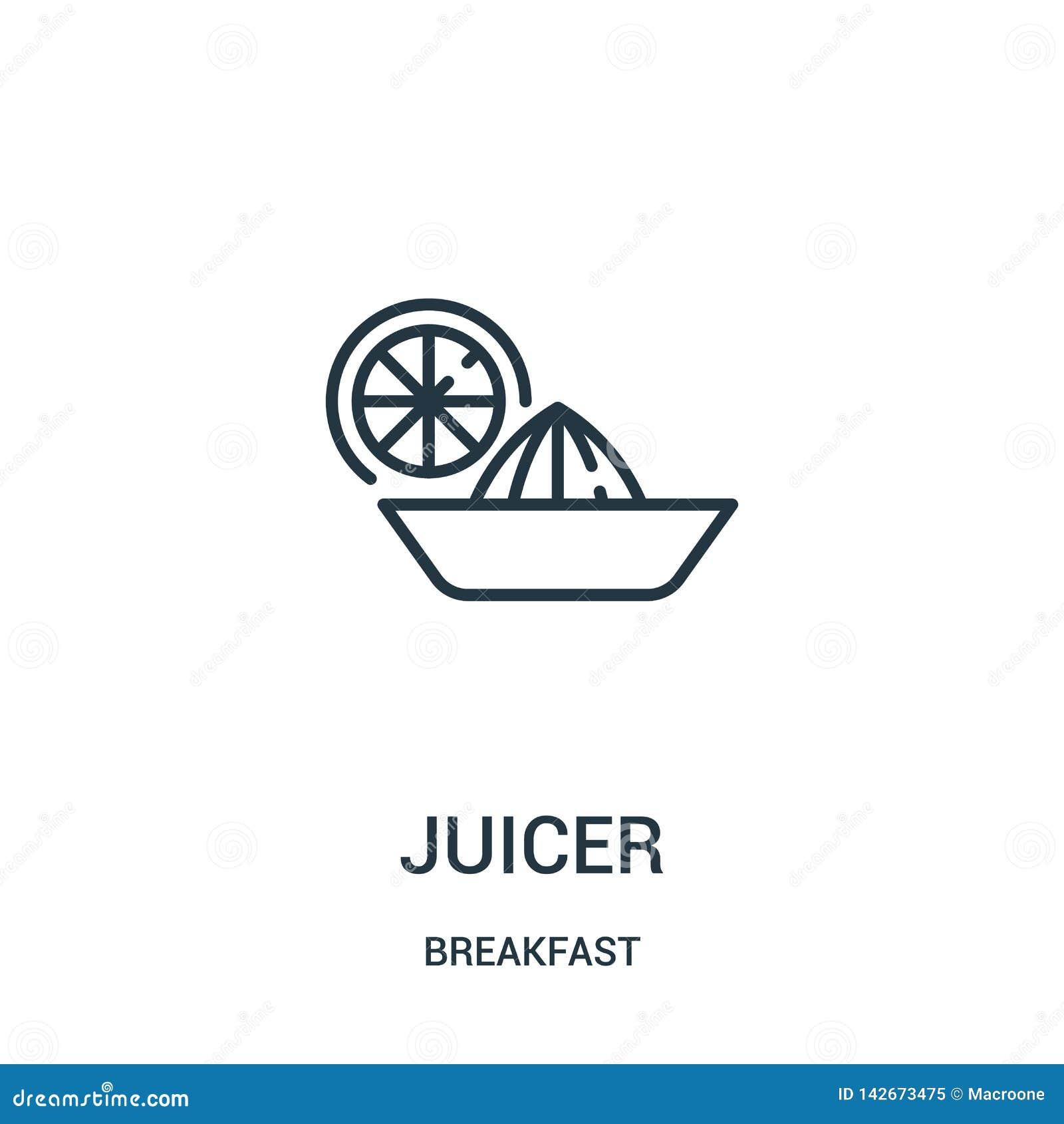 Juicer pictogramvector van ontbijtinzameling De dunne lijn juicer schetst pictogram vectorillustratie Lineair symbool voor gebrui