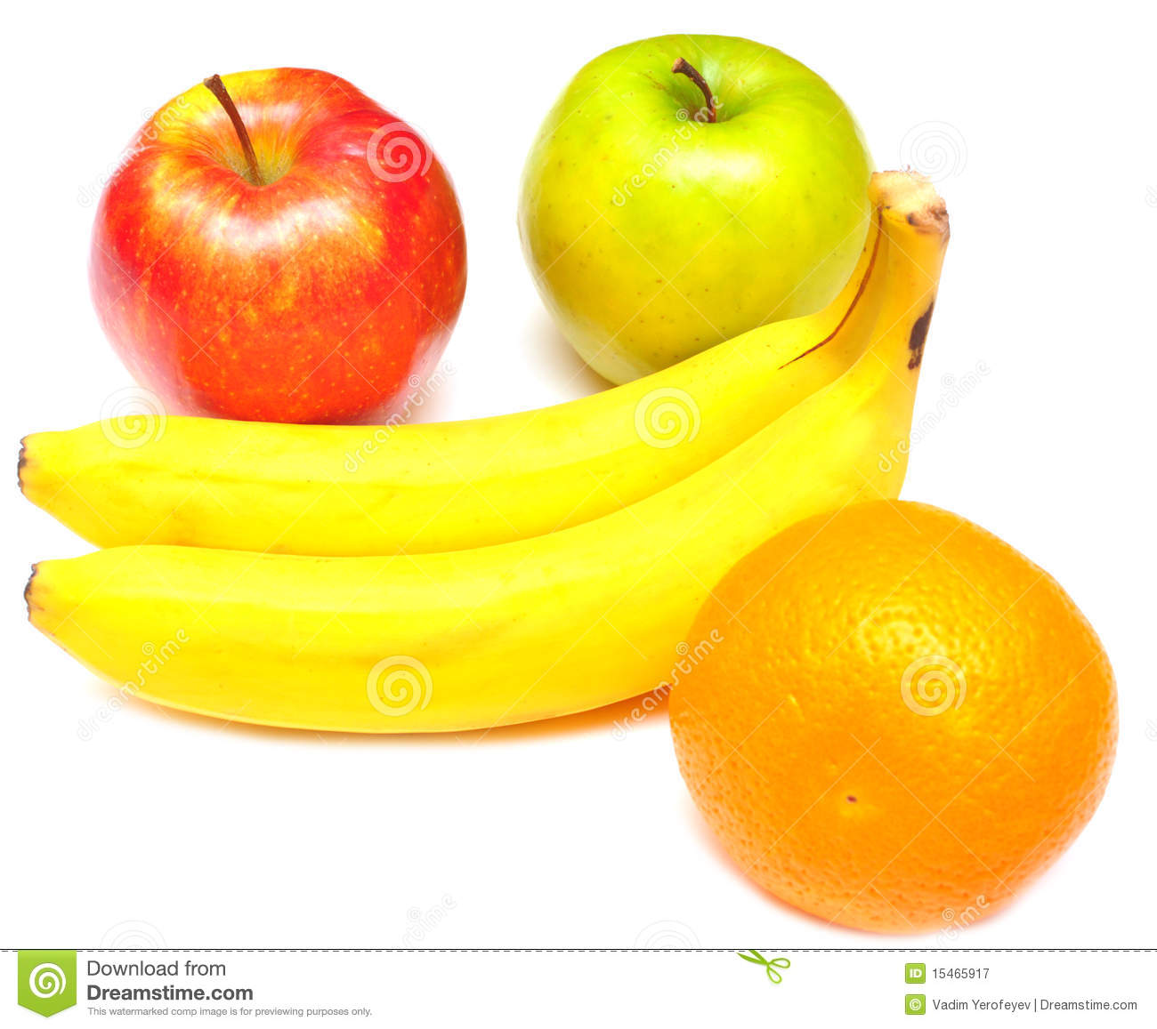 Juicy Apples, Banana And Orange Stock Image - Image of ...